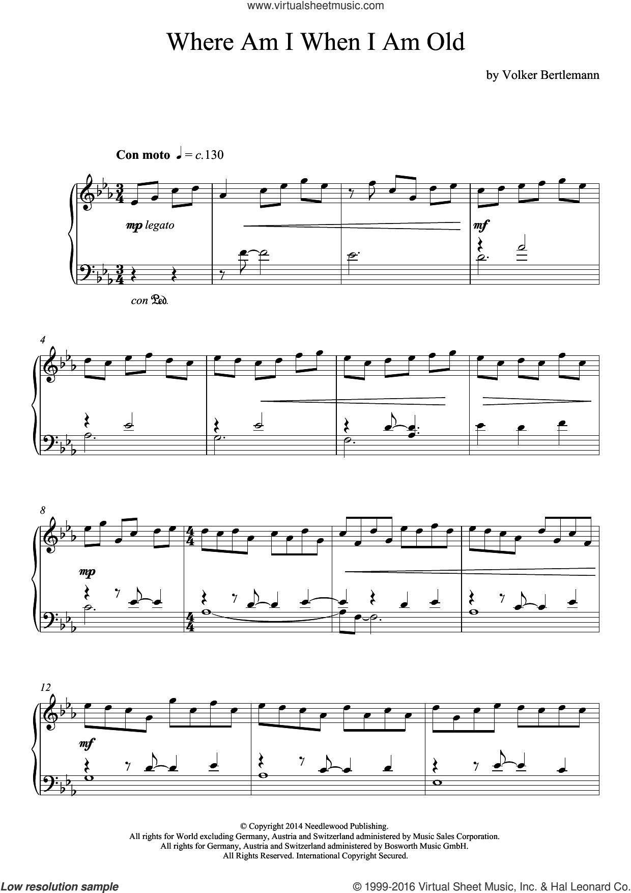 Where Am I When I Am Old sheet music for piano solo by Hauschka, classical score, intermediate skill level