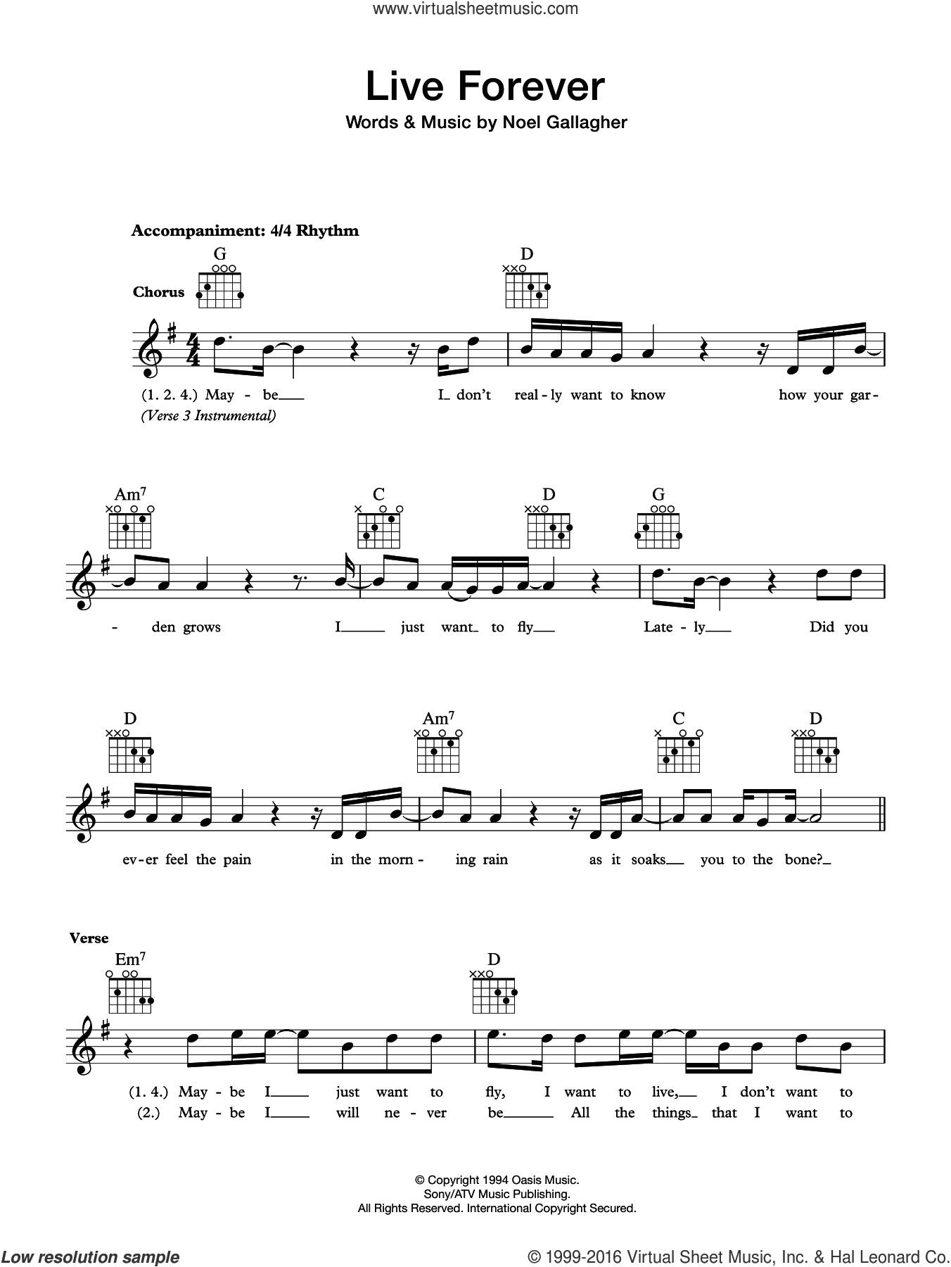 Live Forever sheet music for voice and other instruments (fake book) by Oasis, intermediate skill level