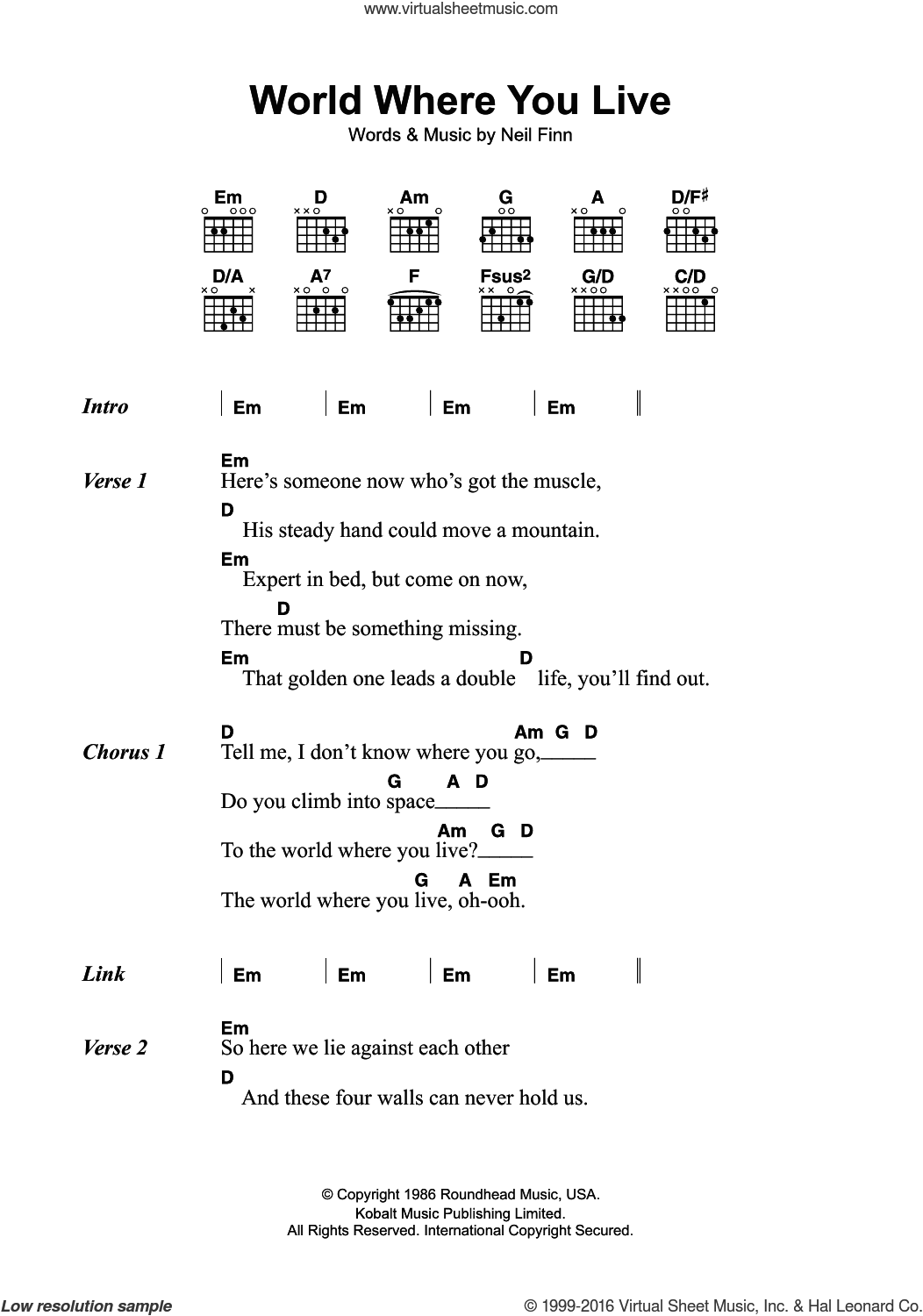House world where you live sheet music for guitar chords for World house music