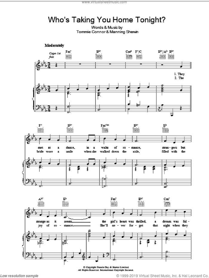 Who's Taking You Home Tonight? sheet music for voice, piano or guitar by Tommie Connor, intermediate. Score Image Preview.