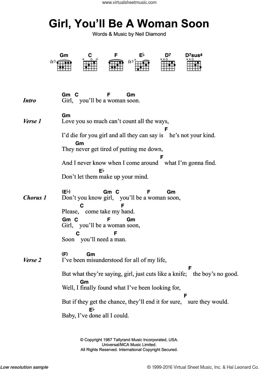 Girl, You'll Be A Woman Soon sheet music for guitar (chords) by Neil Diamond, intermediate skill level