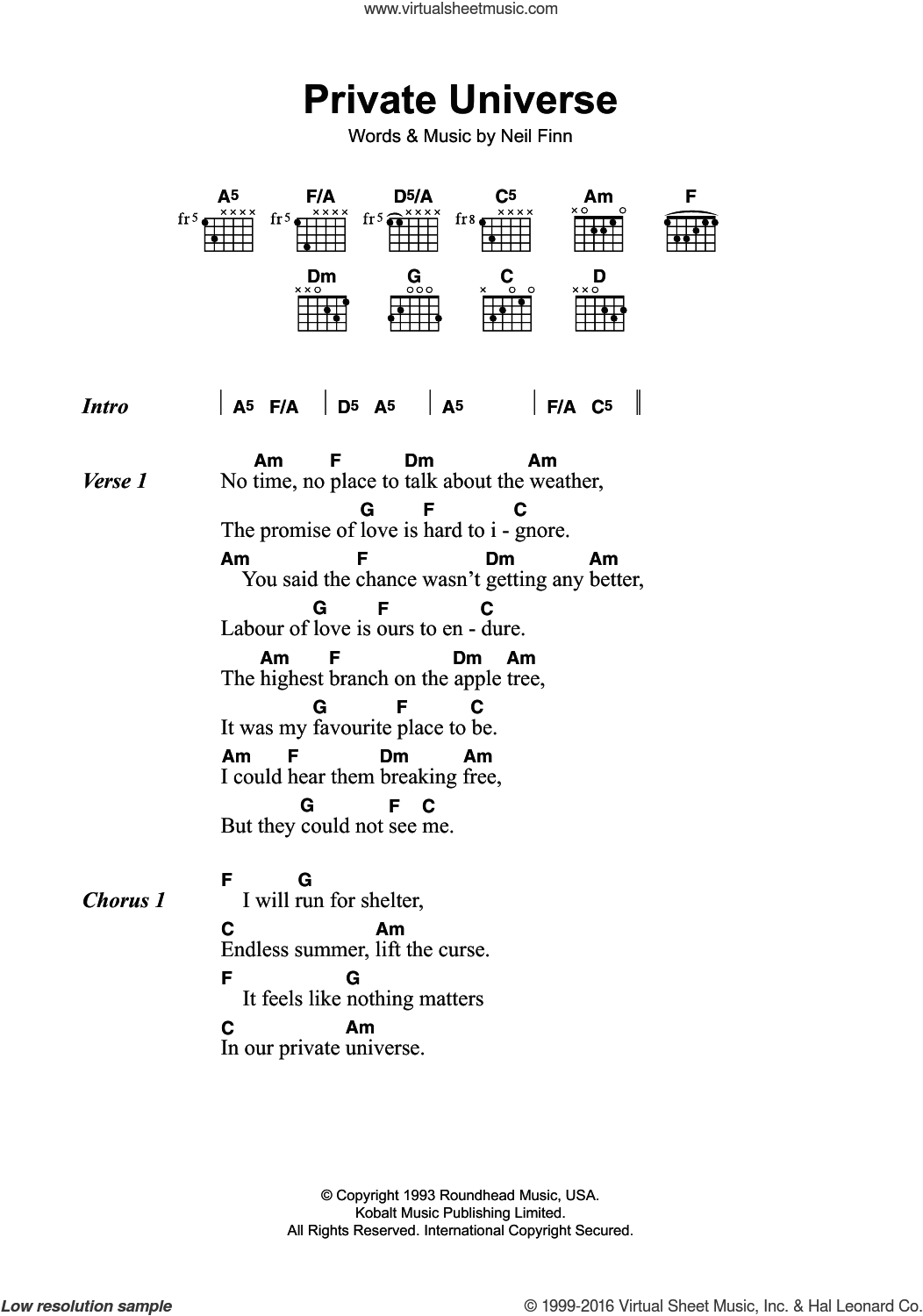 Private Universe sheet music for guitar (chords) by Crowded House, intermediate. Score Image Preview.