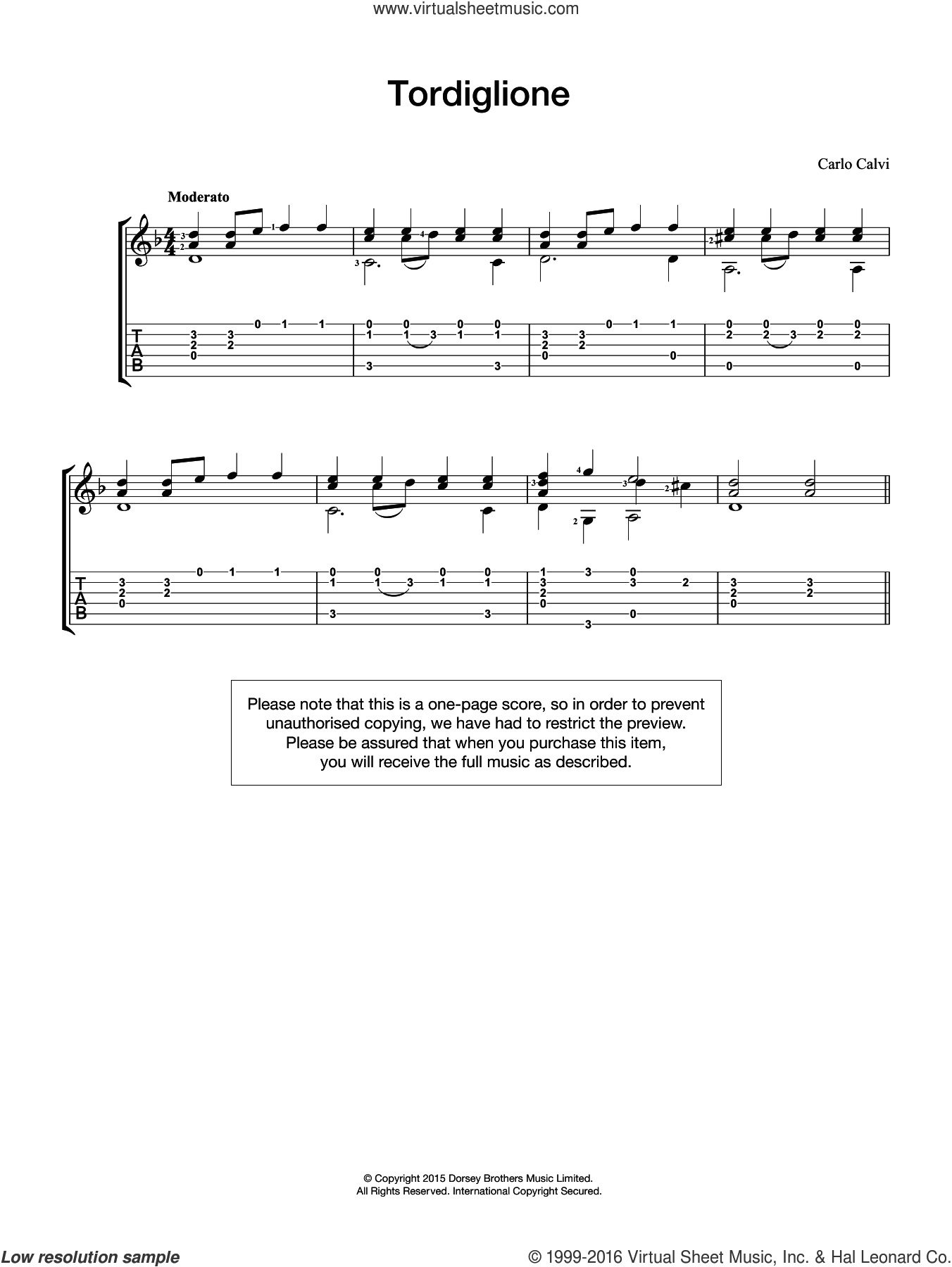 Tordiglione sheet music for guitar solo (chords) by Carlo Calvi, easy guitar (chords)