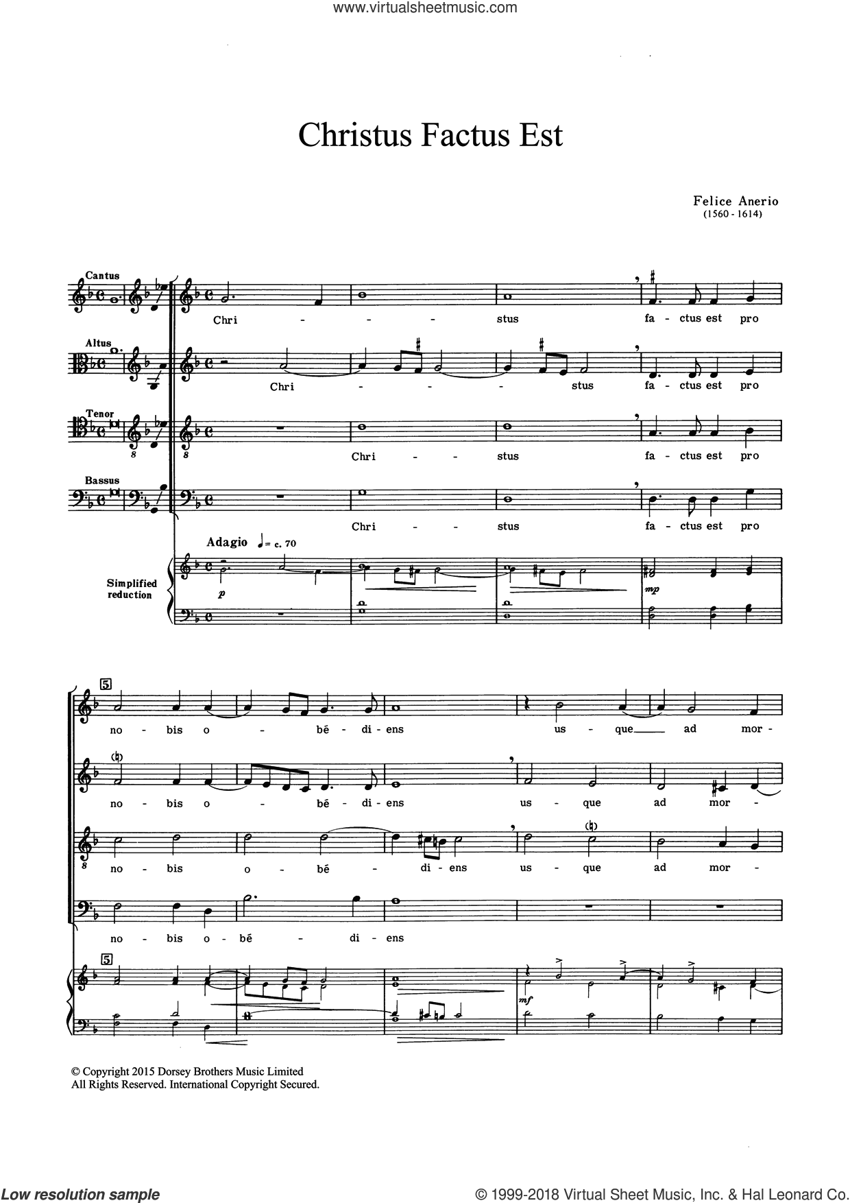 Christus Factus Est sheet music for choir and piano by Felice Anerio. Score Image Preview.