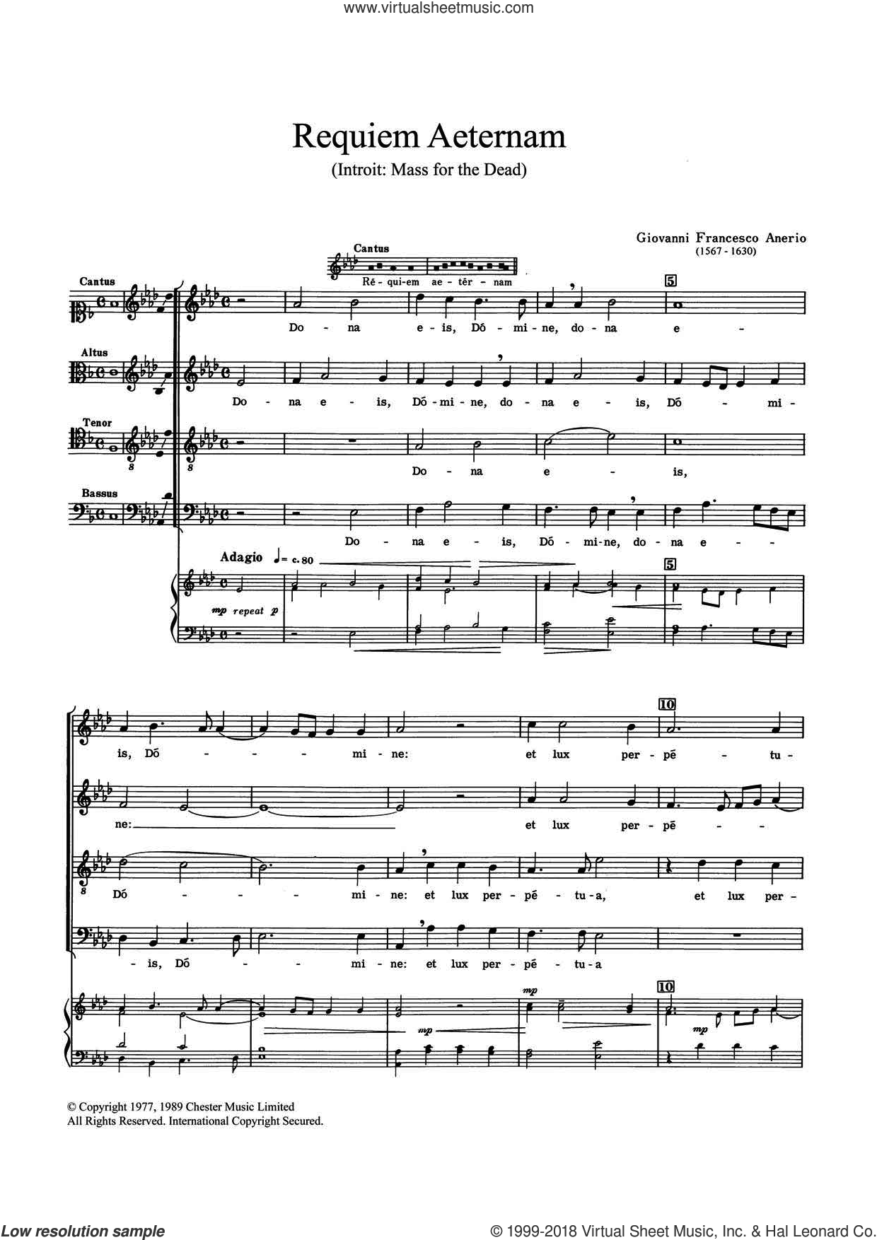 Requiem Aeternam sheet music for choir by Felice Anerio, classical score, intermediate skill level