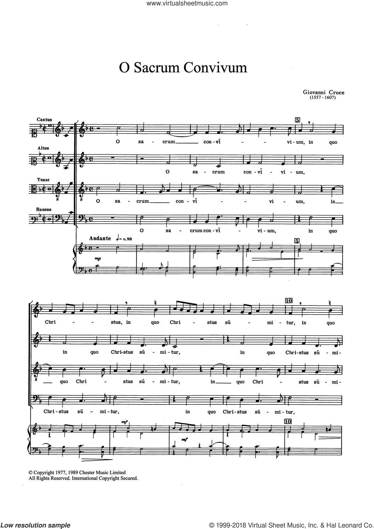 O Sacrum Convivium sheet music for choir by Giovanni Croce, classical score, intermediate skill level