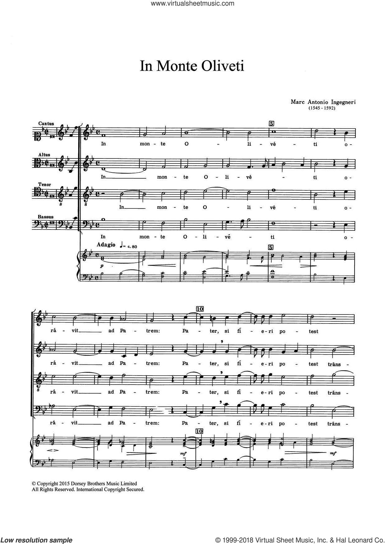 In Monte Oliveti sheet music for choir by Marc Antonio Ingegneri. Score Image Preview.