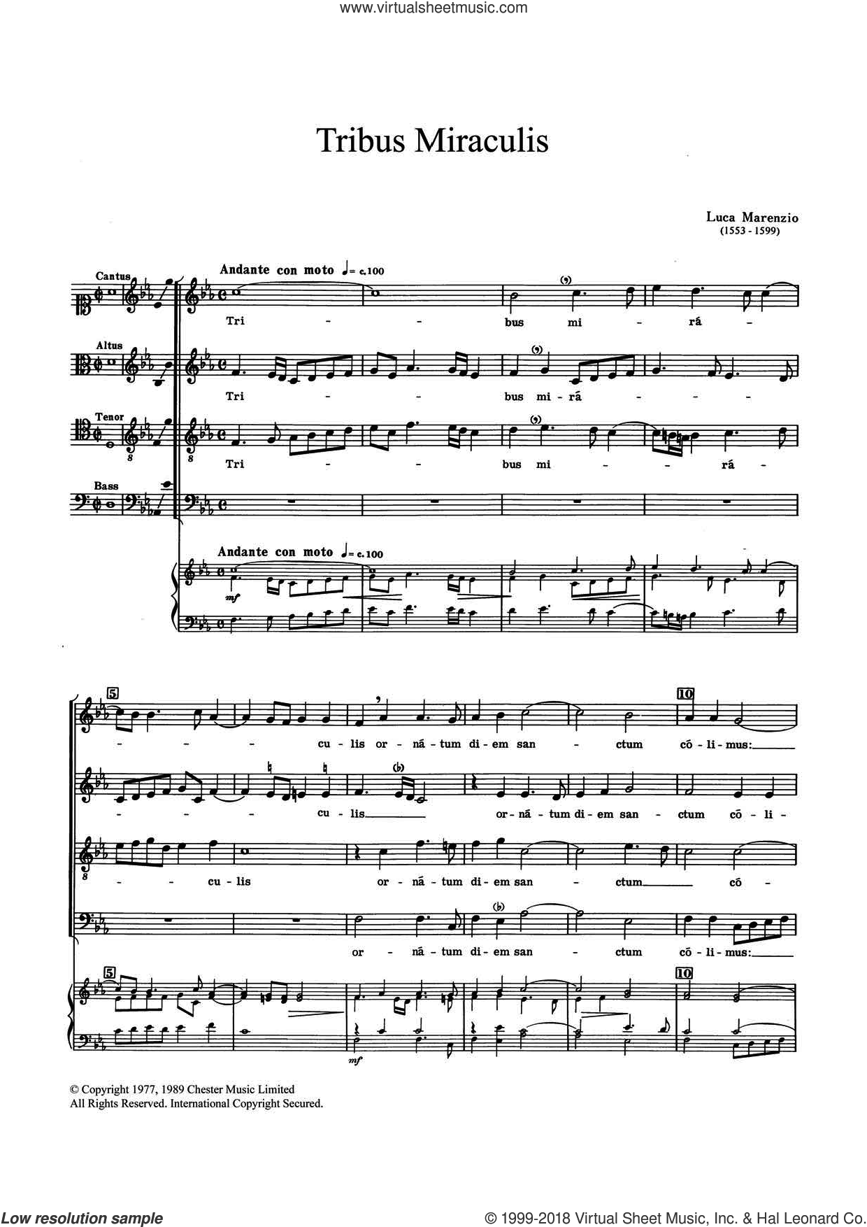 Tribus Miraculis sheet music for choir by Luca Marenzio. Score Image Preview.