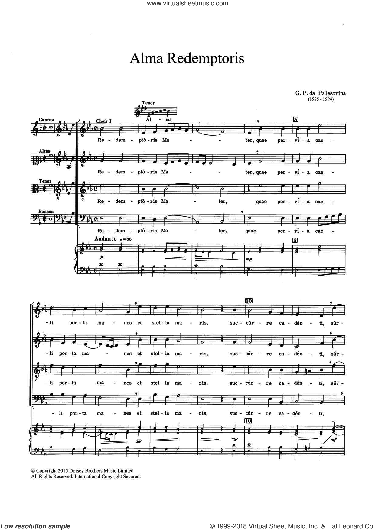 Alma Redemptoris sheet music for choir by Giovanni Palestrina. Score Image Preview.