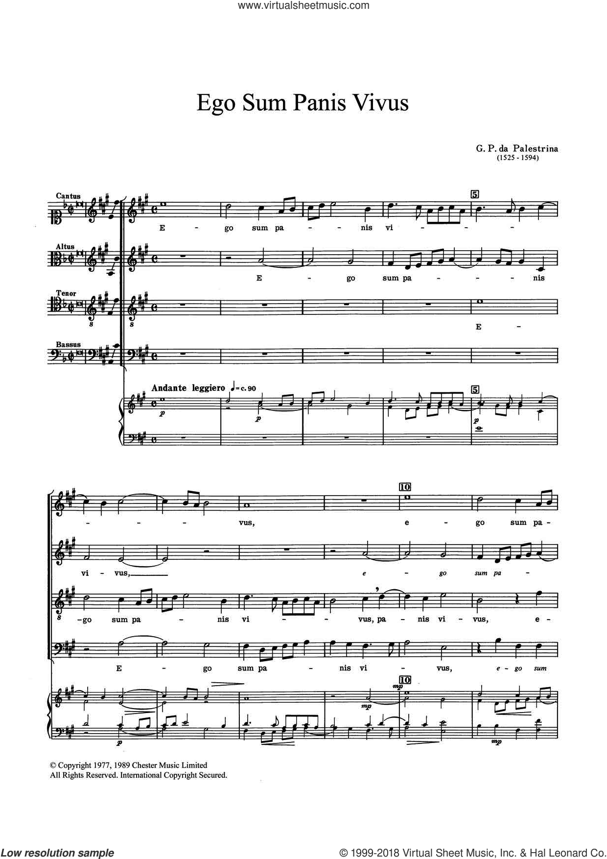 Ego Sum Panis Vivus sheet music for choir by Giovanni Palestrina, classical score, intermediate. Score Image Preview.