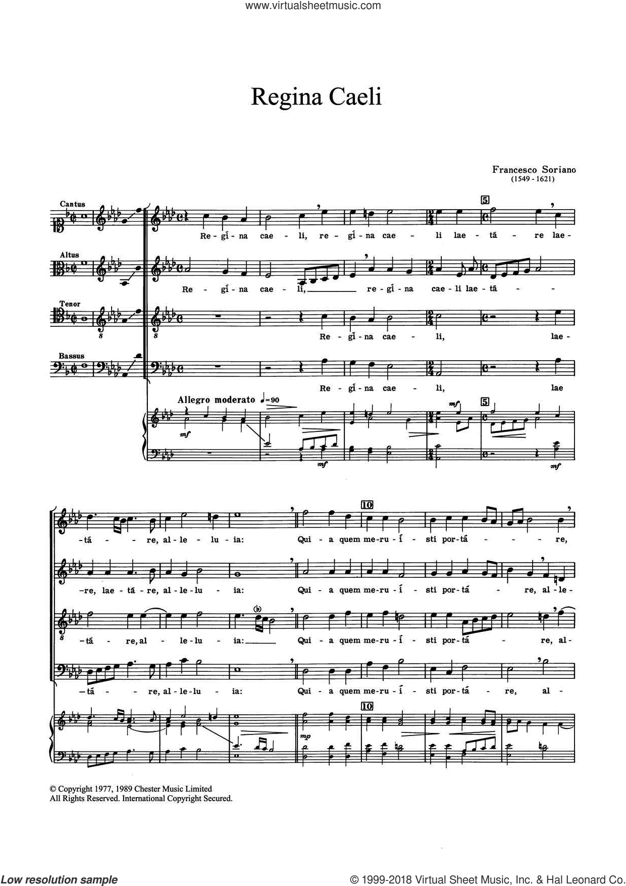 Regina Caeli sheet music for choir and piano by Francesco Soriano. Score Image Preview.