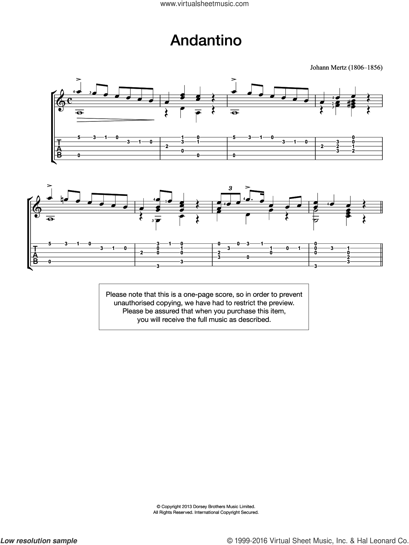 Andantino sheet music for guitar solo (chords) by Johann Kaspar Mertz, classical score, easy guitar (chords)