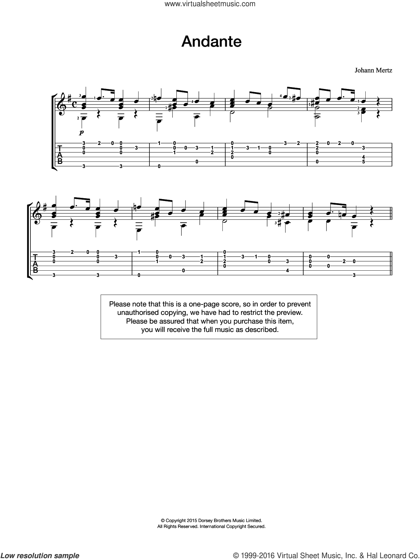 Andante sheet music for guitar solo (chords) by Johann Kaspar Mertz, classical score, easy guitar (chords)