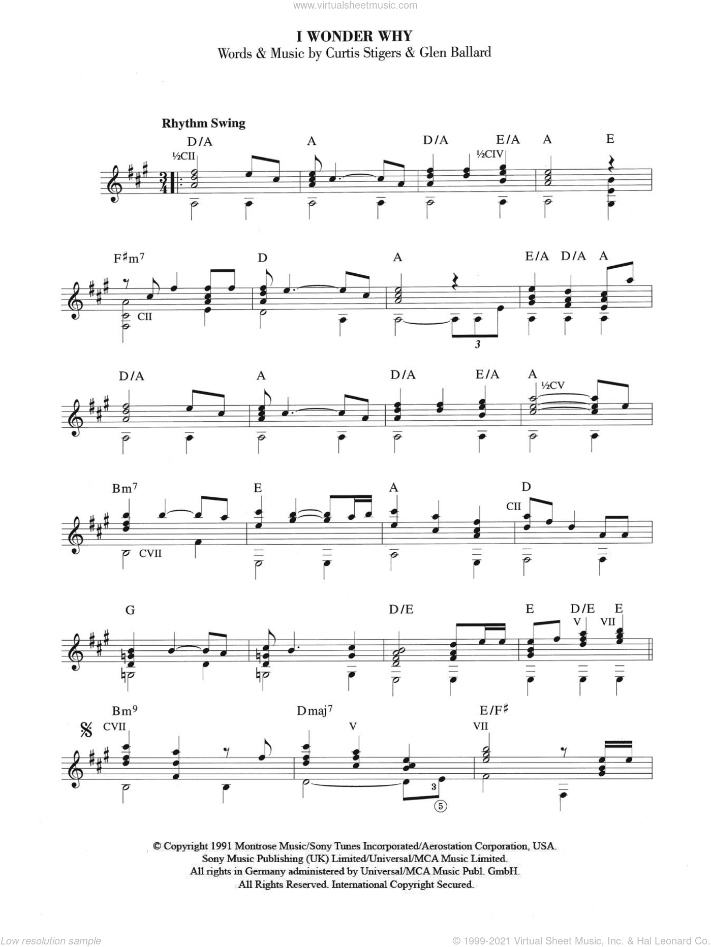 I Wonder Why sheet music for guitar solo (chords) by Glen Ballard. Score Image Preview.