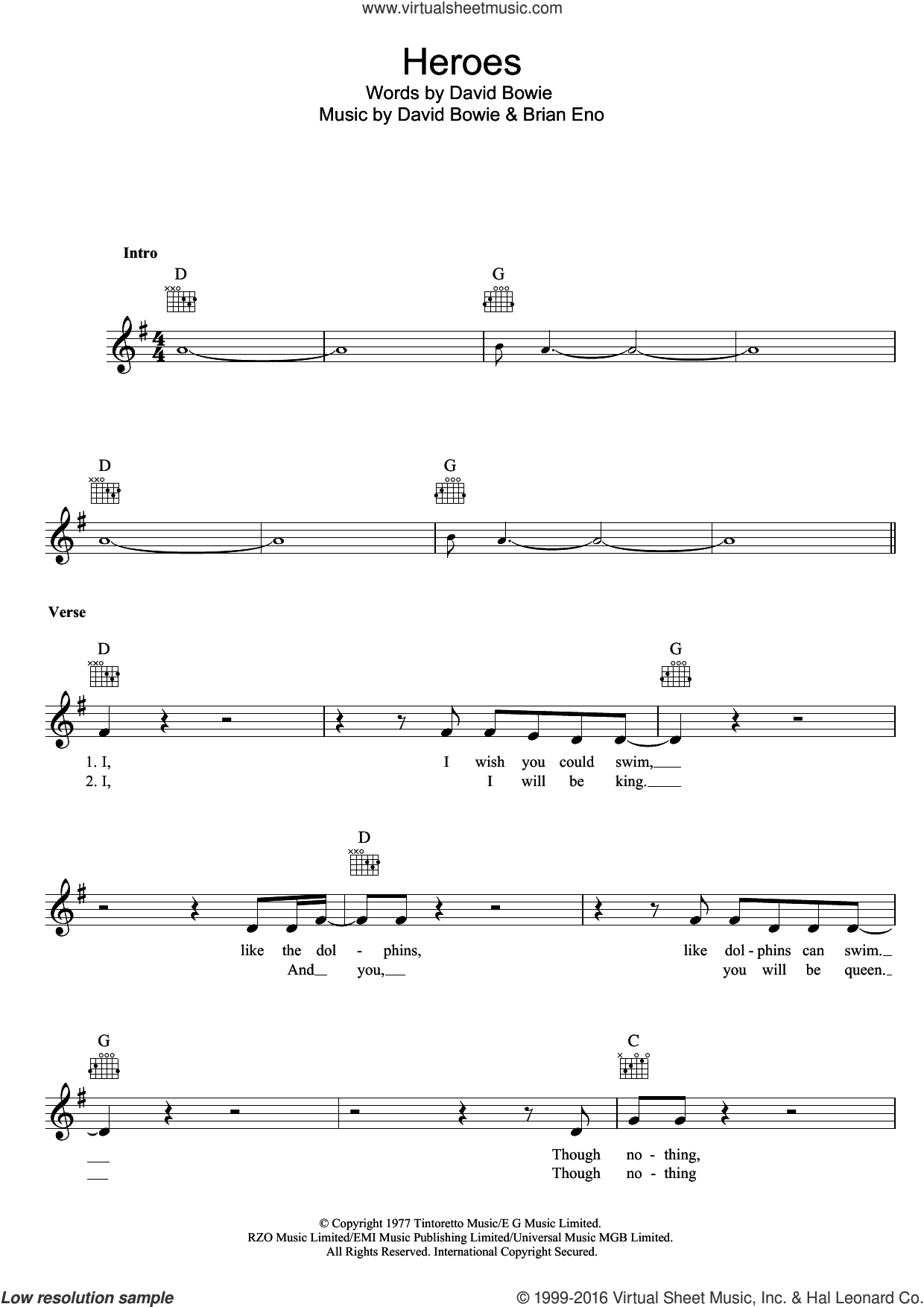 Heroes sheet music for voice and other instruments (fake book) by David Bowie and Brian Eno, intermediate skill level