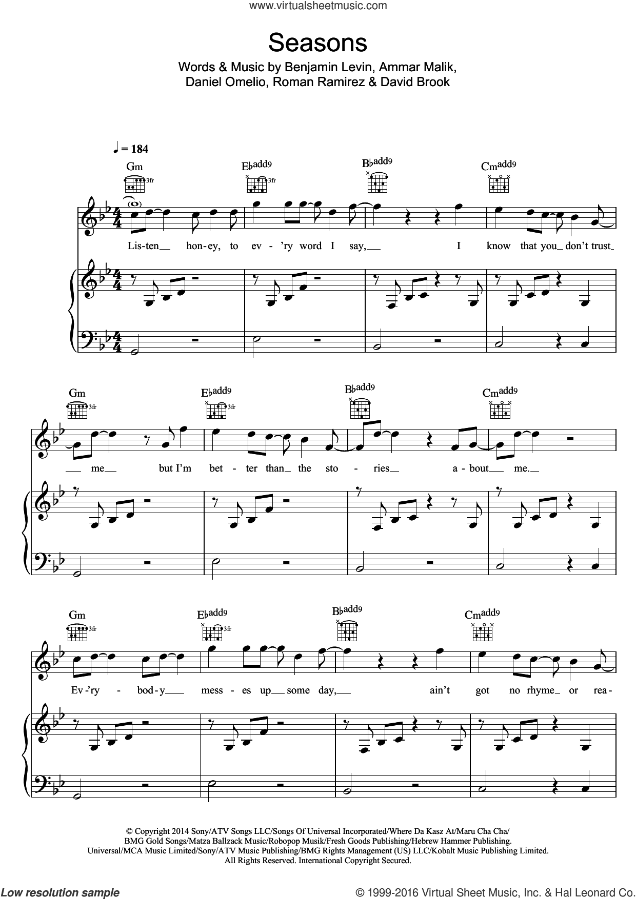 Seasons sheet music for voice, piano or guitar by Olly Murs, Ammar Malik and Benjamin Levin, intermediate voice, piano or guitar. Score Image Preview.