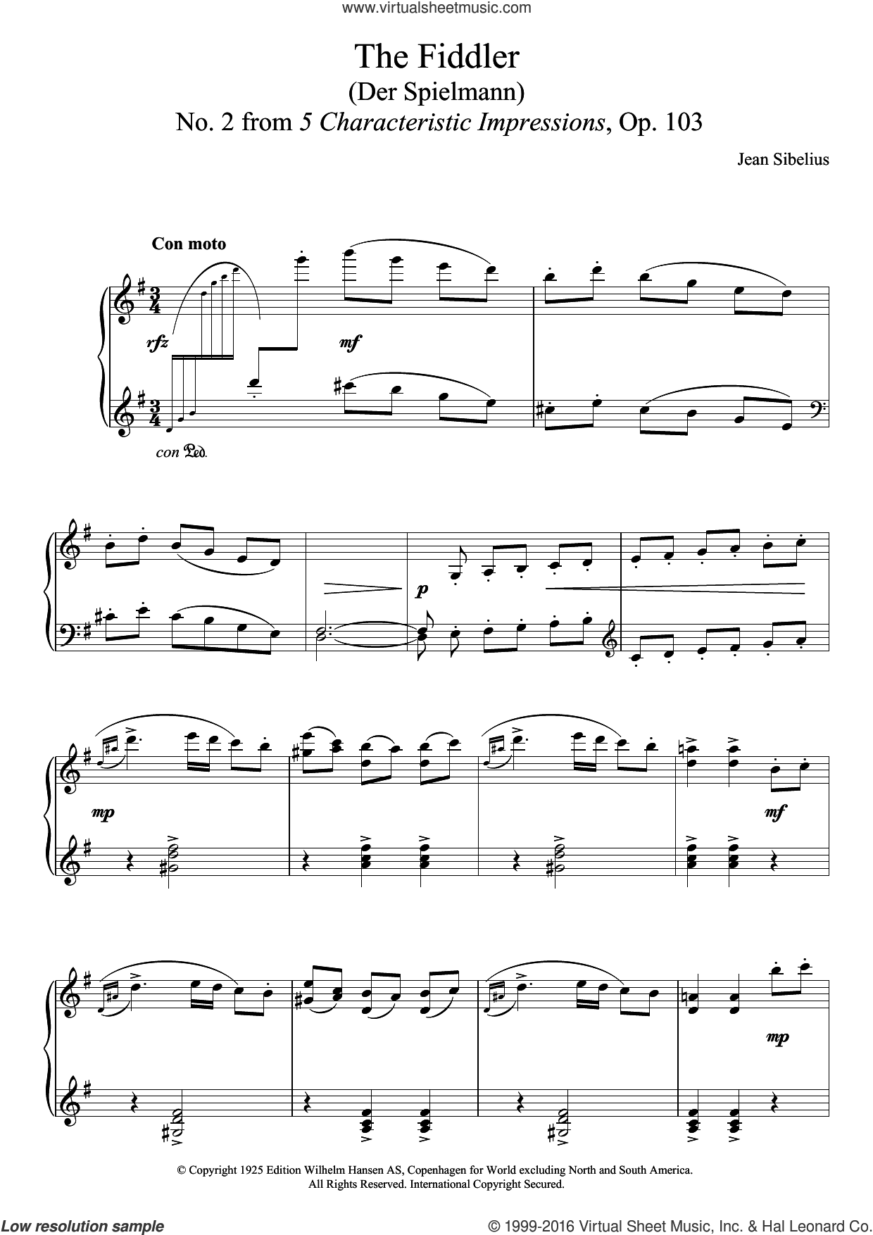 The Fiddler (From 5 Characteristic Impressions, Op.103) sheet music for piano solo by Jean Sibelius. Score Image Preview.