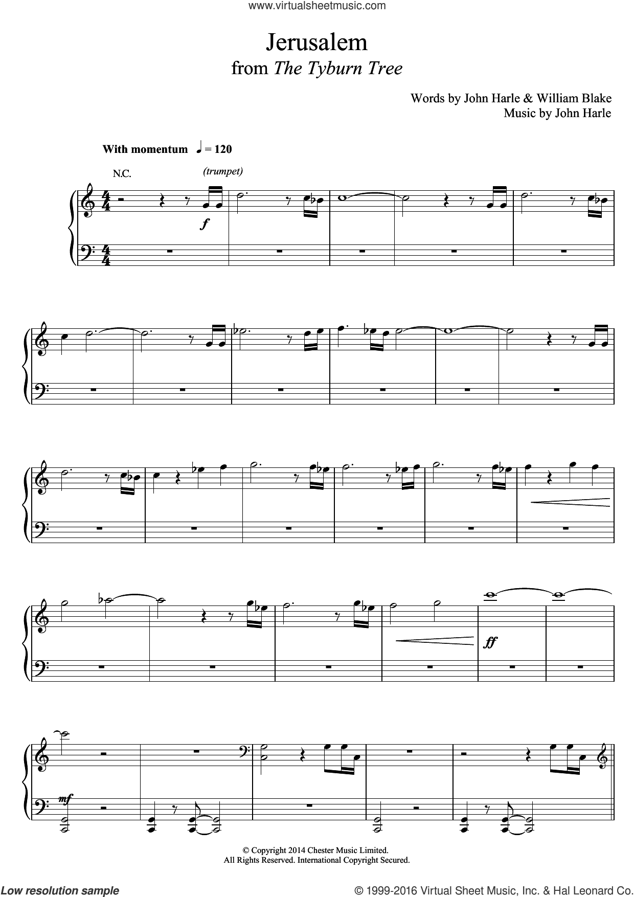 Jerusalem sheet music for voice, piano or guitar by John Harle & Marc Almond, John Harle and William Blake, classical score, intermediate skill level