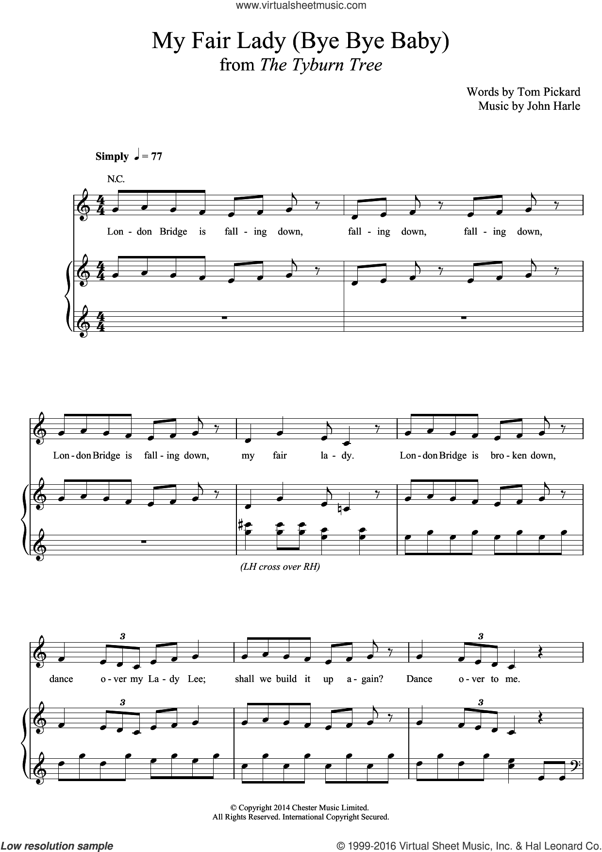 My Fair Lady (Bye Bye Baby) sheet music for voice, piano or guitar by Tom Pickard and John Harle. Score Image Preview.
