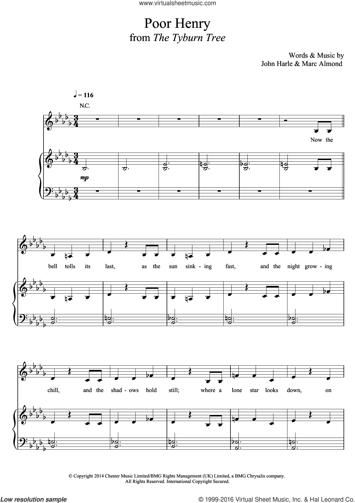 Poor Henry sheet music for voice, piano or guitar by John Harle & Marc Almond, John Harle and Marc Almond, classical score, intermediate skill level
