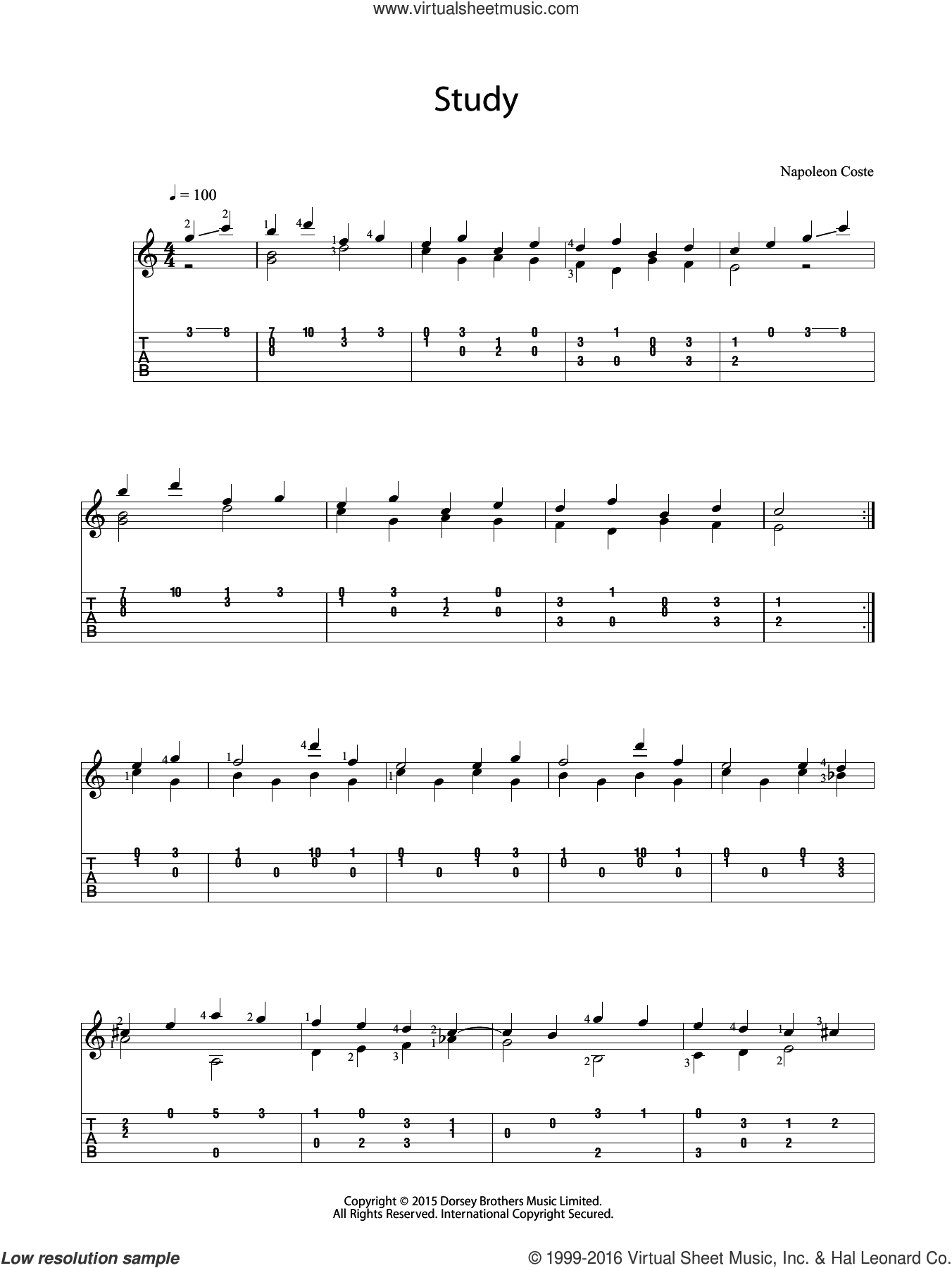 Study sheet music for guitar solo (chords) by Napoleon Coste. Score Image Preview.