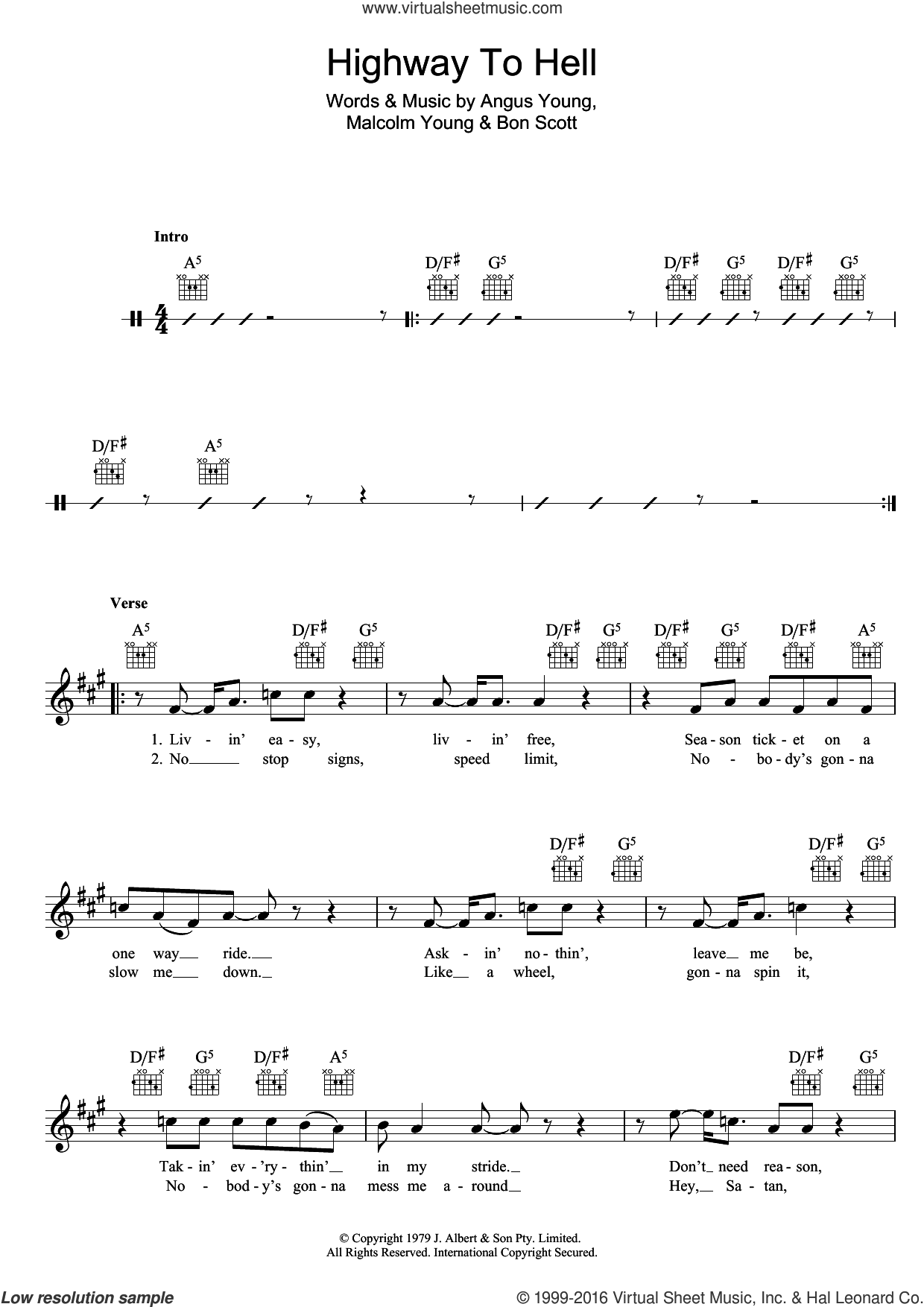Highway To Hell sheet music for voice and other instruments (fake book) by AC/DC, Angus Young, Bon Scott and Malcolm Young, intermediate skill level