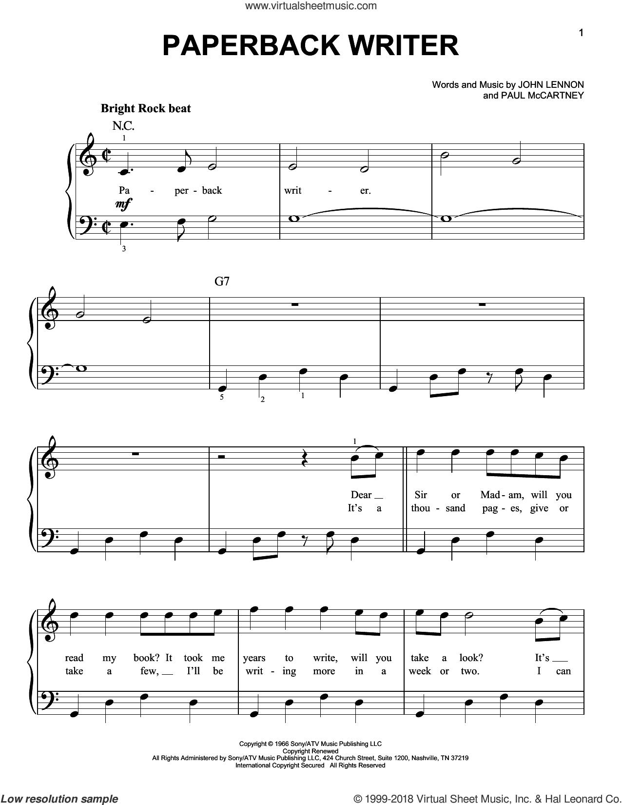 Paperback Writer sheet music for piano solo by The Beatles, John Lennon and Paul McCartney, beginner skill level