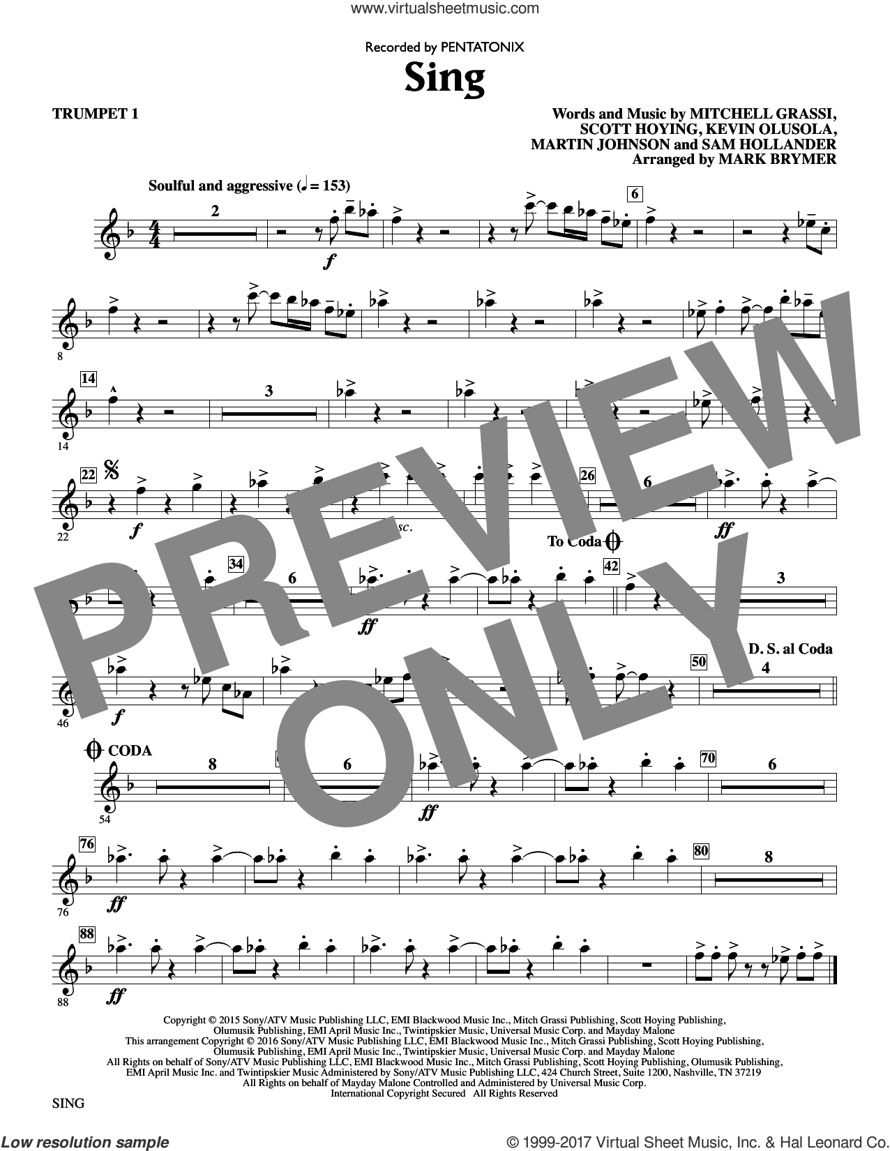 Sing (complete set of parts) sheet music for orchestra/band by Mark Brymer, Kevin Olusola, Martin Johnson, Mitchell Grassi, Pentatonix, Sam Hollander and Scott Hoying, intermediate skill level
