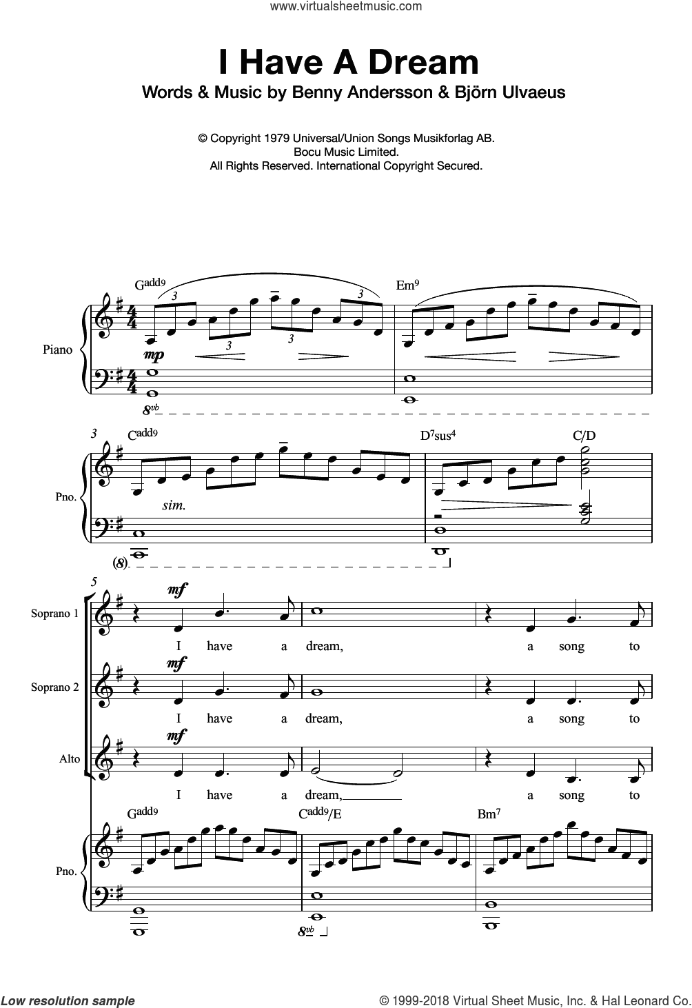 I Have A Dream (Arr. Quentin Thomas) sheet music for choir and piano by Benny Andersson