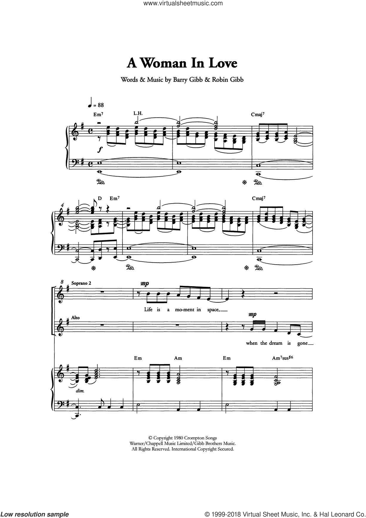 A Woman In Love (Arr. Berty Rice) sheet music for choir and piano by Barry Gibb, Barbra Streisand and Robin Gibb. Score Image Preview.