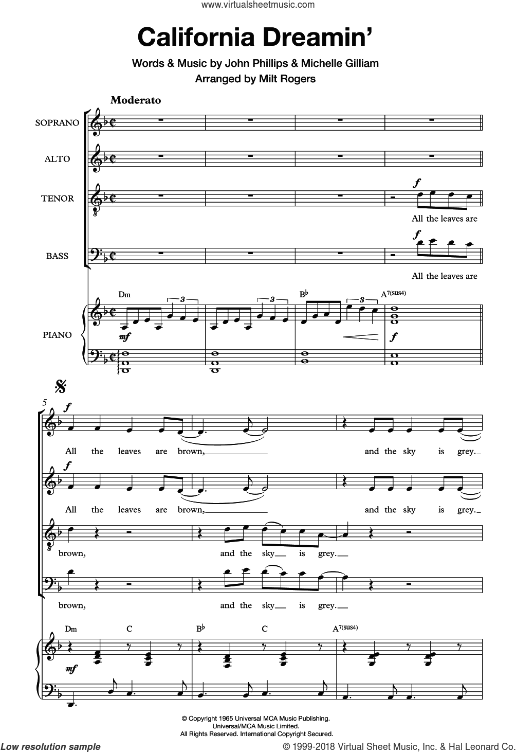 California Dreamin' (Arr. Milt Rogers) sheet music for choir by The Mamas & The Papas, intermediate. Score Image Preview.