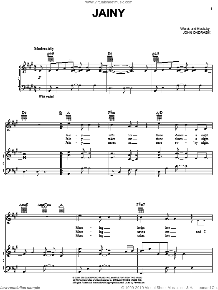 Jainy sheet music for voice, piano or guitar by John Ondrasik and Five For Fighting. Score Image Preview.