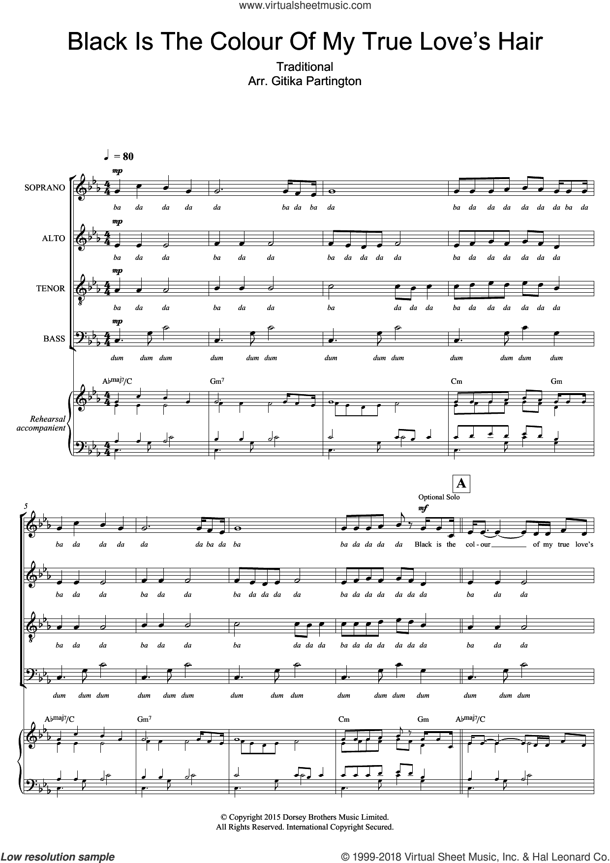 Black Is The Colour Of My True Love's Hair (Arr. Gitika Partington) sheet music for choir and piano by Traditional American Song and Miscellaneous. Score Image Preview.