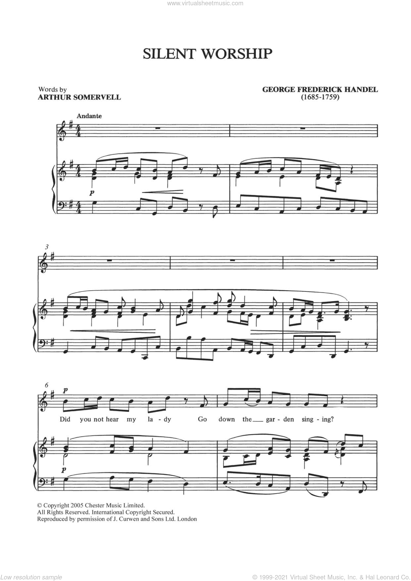 Silent Worship (from Tolmeo HWV25) sheet music for voice and piano by George Frideric Handel, classical score, intermediate skill level