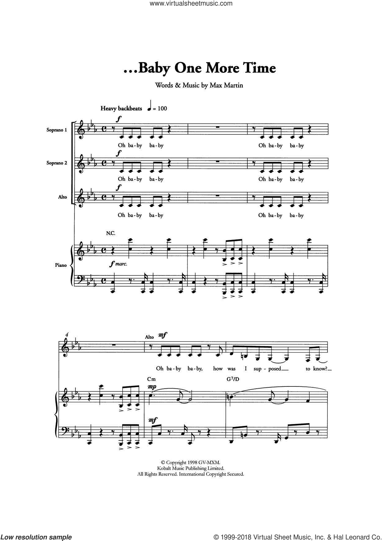 ...Baby One More Time (Arr. Berty Rice) sheet music for choir by Britney Spears and Max Martin, intermediate skill level