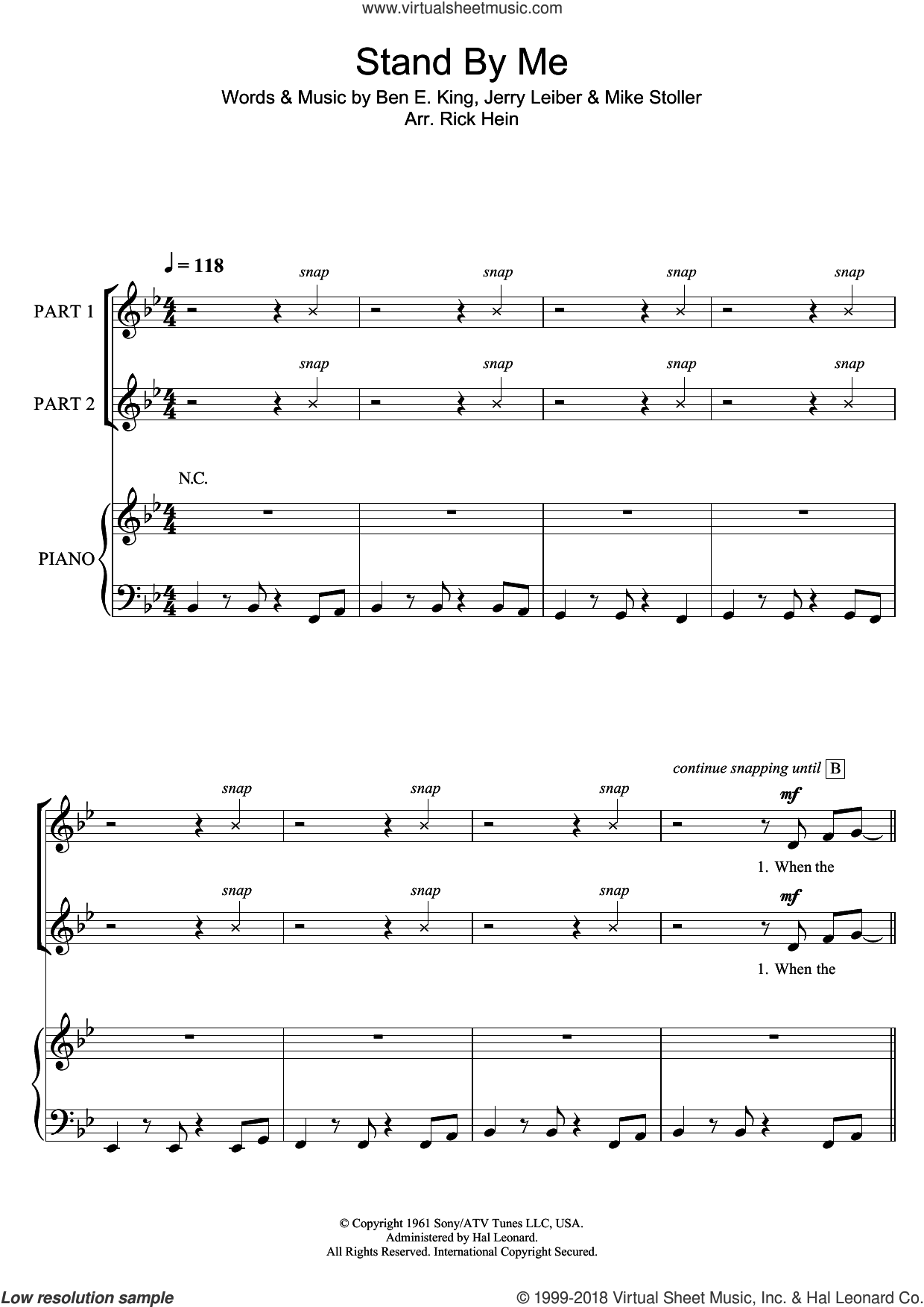 Stand By Me (arr. Rick Hein) sheet music for choir by Ben E. King, Rick Hein, Jerry Leiber and Mike Stoller, intermediate skill level