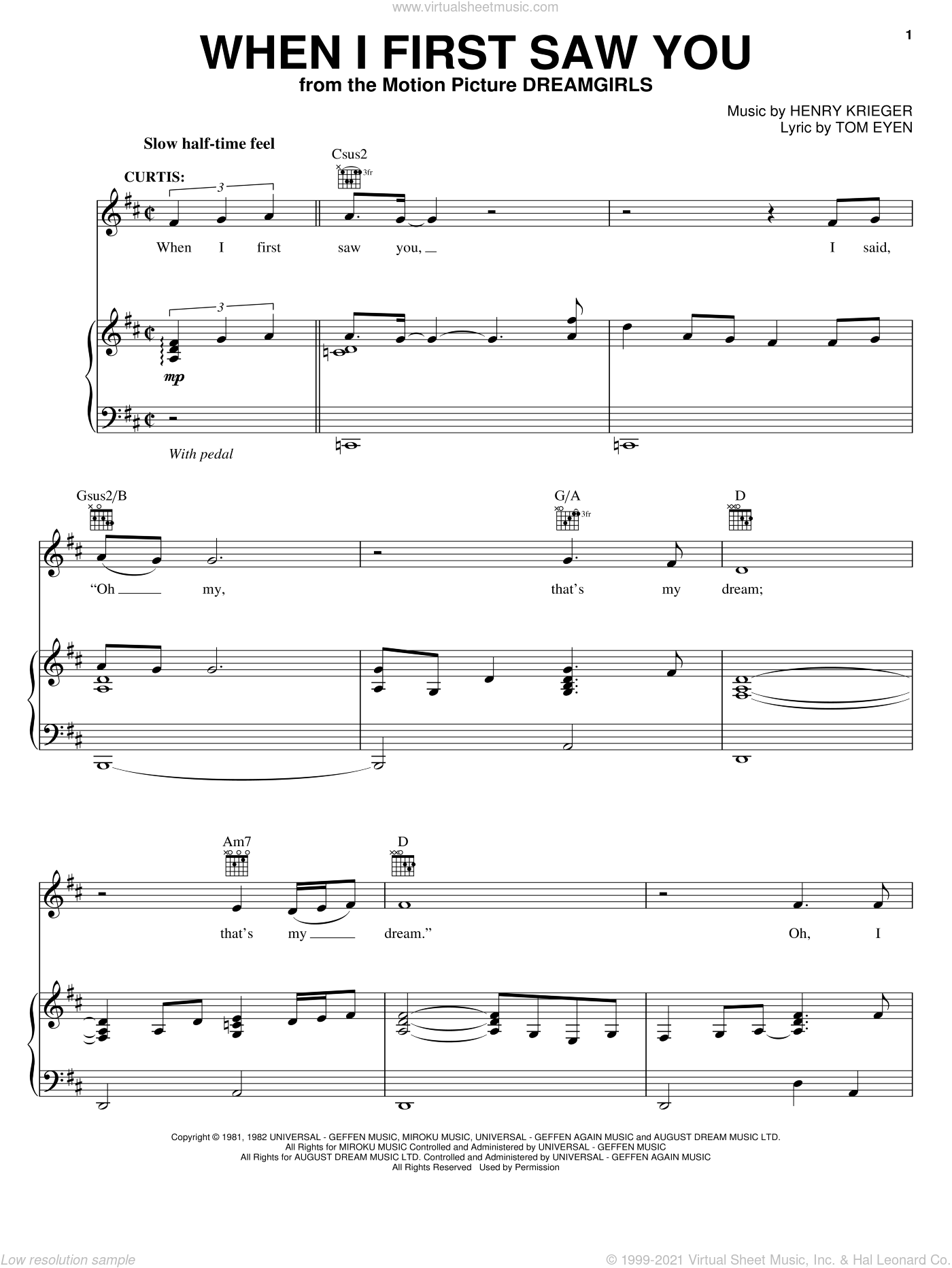 When I First Saw You sheet music for voice, piano or guitar by Jamie Foxx, Dreamgirls (Movie), Henry Krieger and Tom Eyen, intermediate. Score Image Preview.