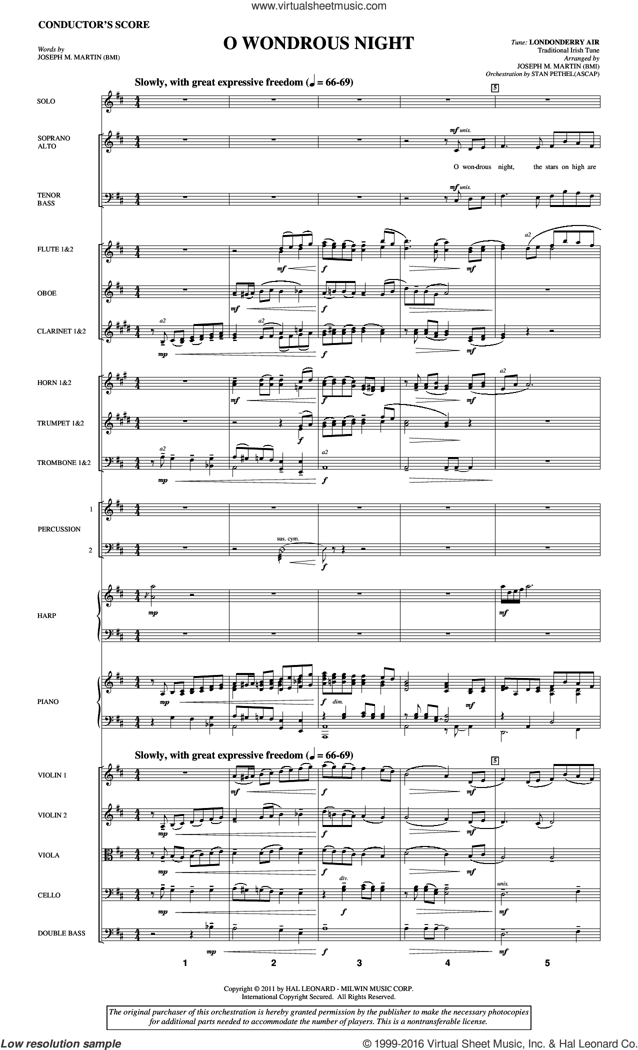O Wondrous Night sheet music for orchestra/band (full score) by Joseph M. Martin. Score Image Preview.
