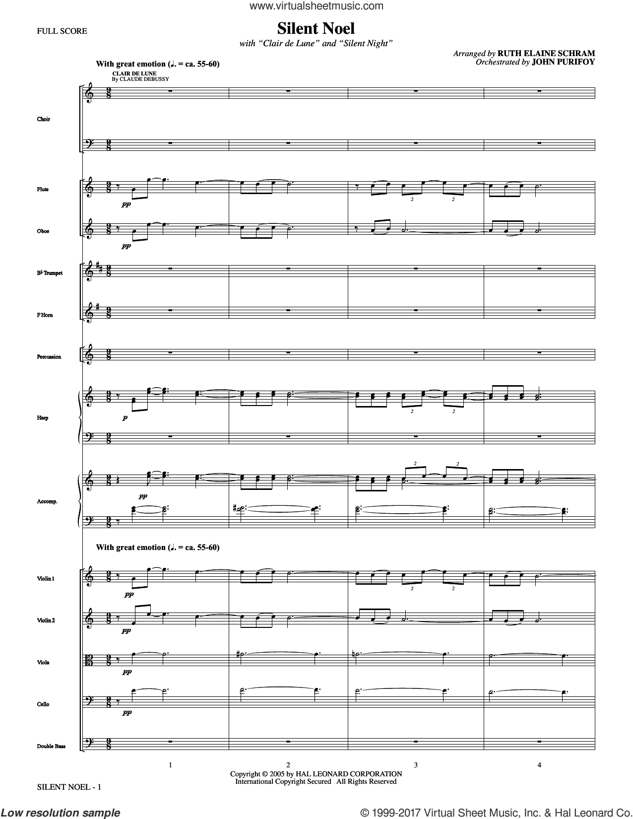Silent Noel (COMPLETE) sheet music for orchestra/band by Franz Gruber, Claude Debussy, John F. Young (trans.), Joseph Mohr and Ruth Elaine Schram, intermediate skill level