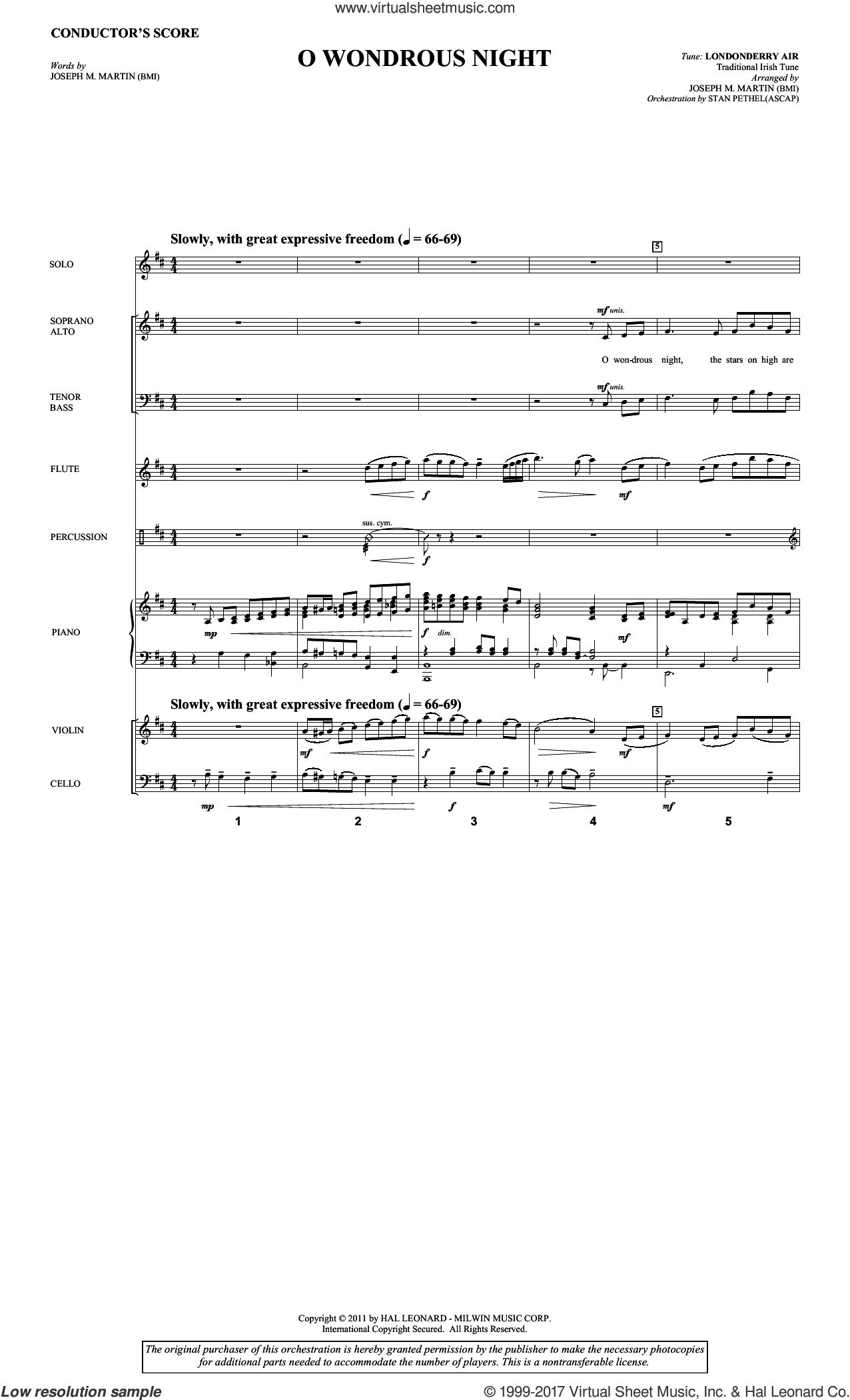 O Wondrous Night (COMPLETE) sheet music for orchestra/band by Joseph M. Martin and Traditional Irish Tune, intermediate