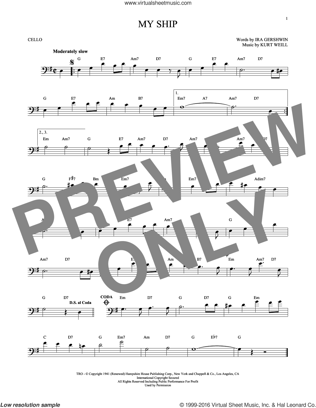 My Ship sheet music for cello solo by Ira Gershwin and Kurt Weill, intermediate. Score Image Preview.