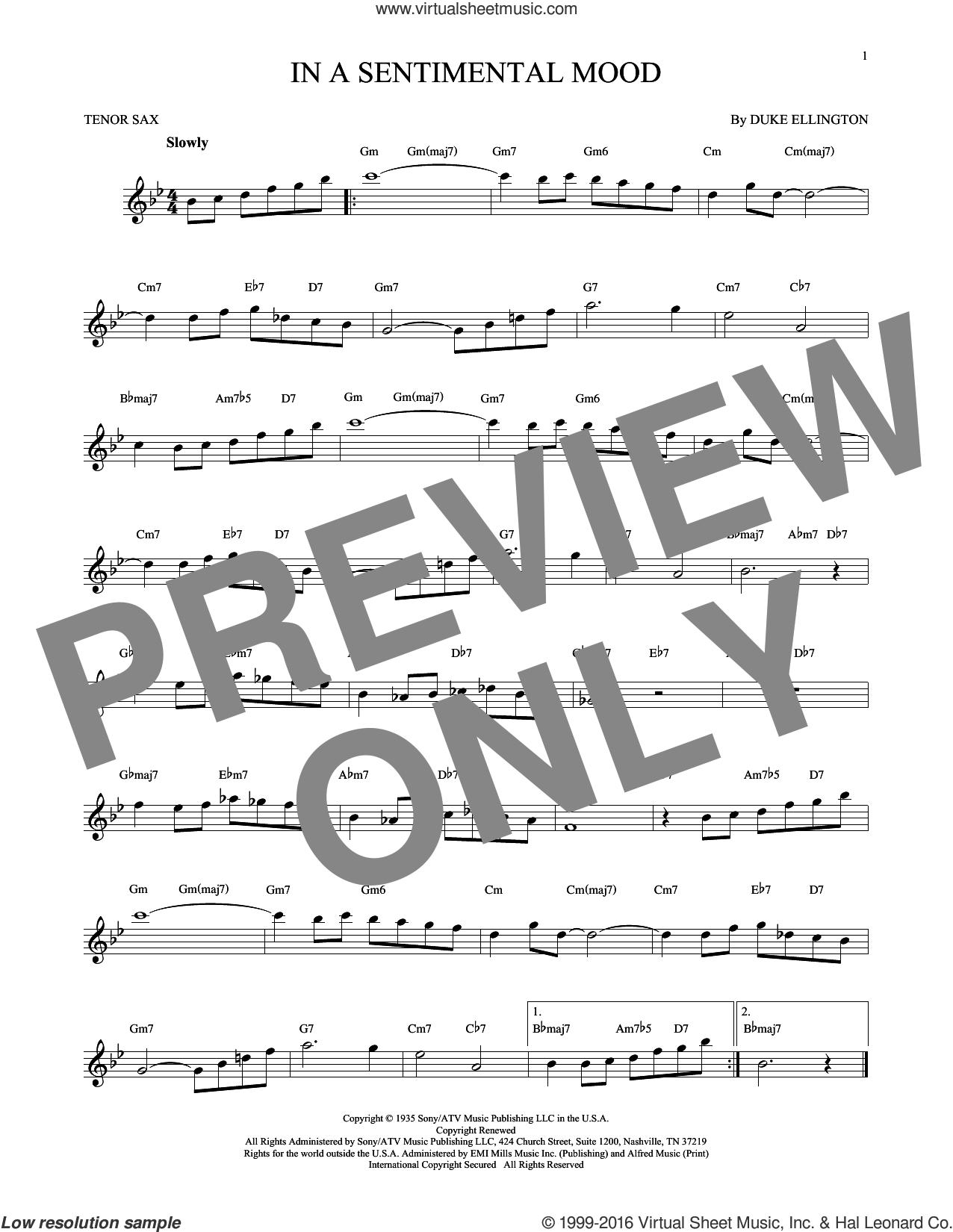 In A Sentimental Mood sheet music for tenor saxophone solo by Duke Ellington, Irving Mills and Manny Kurtz, intermediate skill level