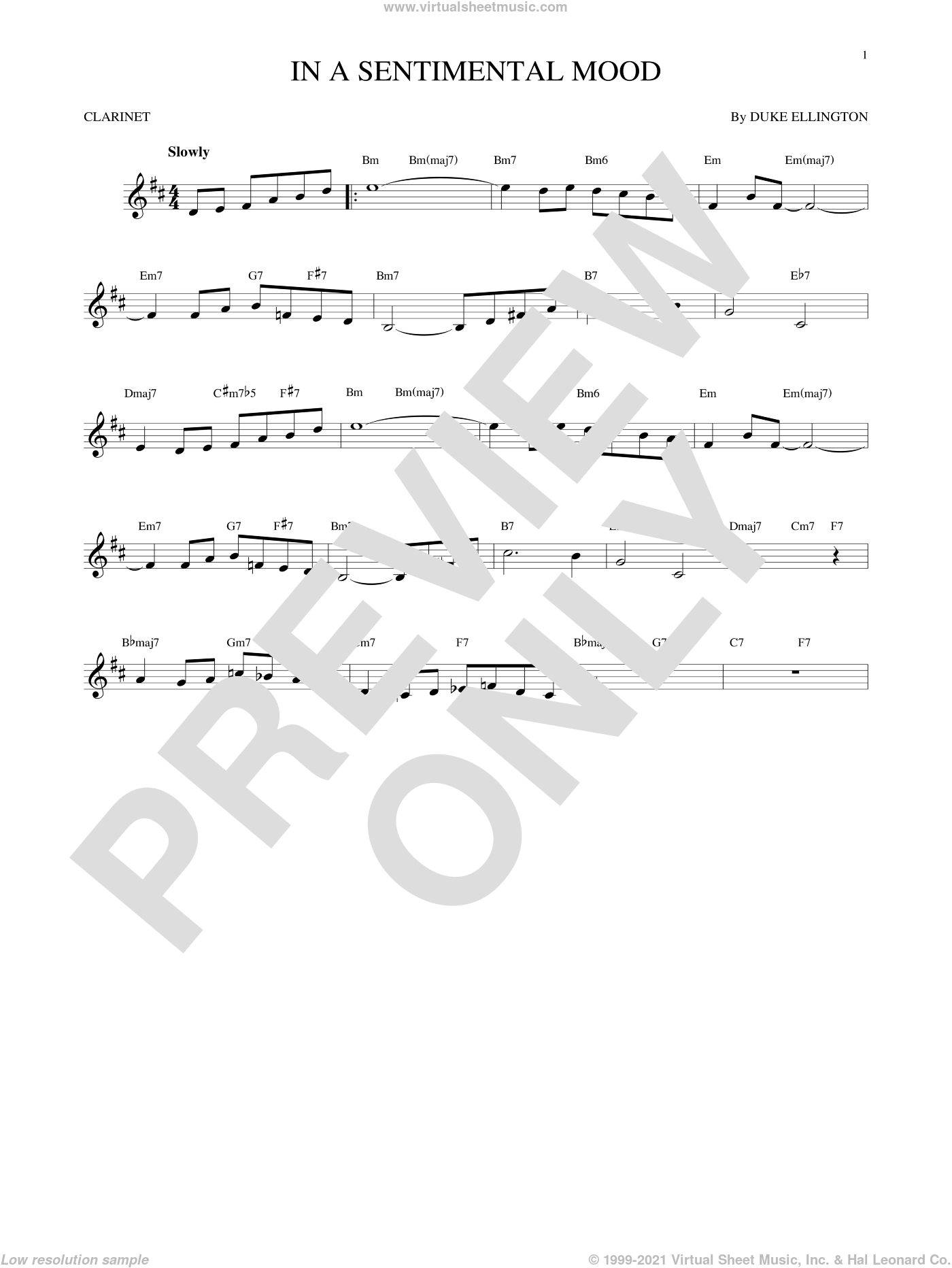 In A Sentimental Mood sheet music for clarinet solo by Duke Ellington, Irving Mills and Manny Kurtz, intermediate clarinet. Score Image Preview.