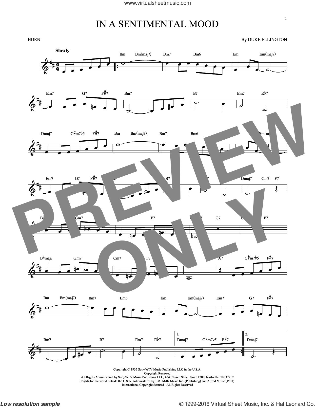 In A Sentimental Mood sheet music for horn solo by Duke Ellington, Irving Mills and Manny Kurtz, intermediate horn. Score Image Preview.