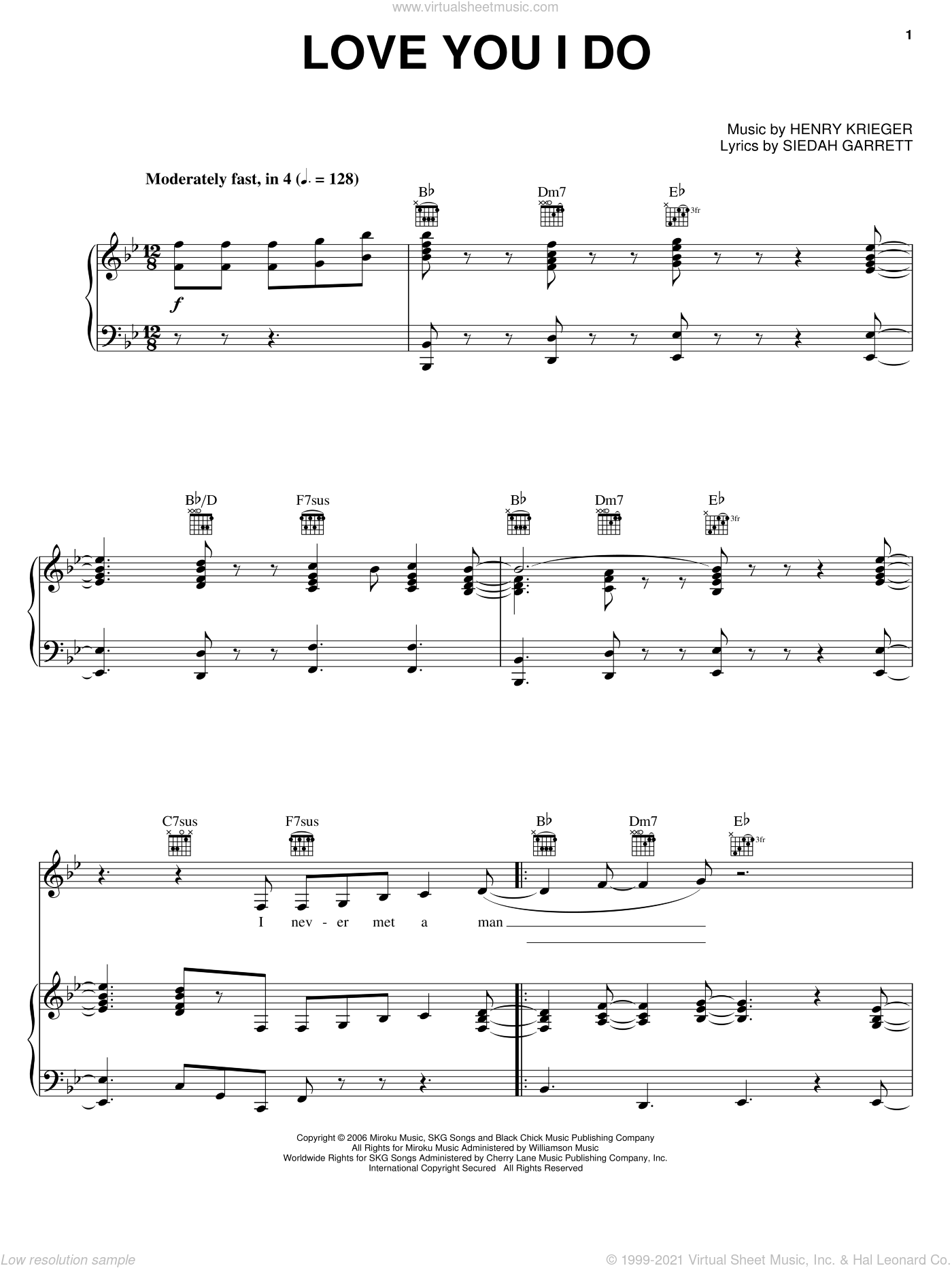 Love You I Do sheet music for voice, piano or guitar by Jennifer Hudson, Dreamgirls (Movie), Henry Krieger and Siedah Garrett, intermediate skill level