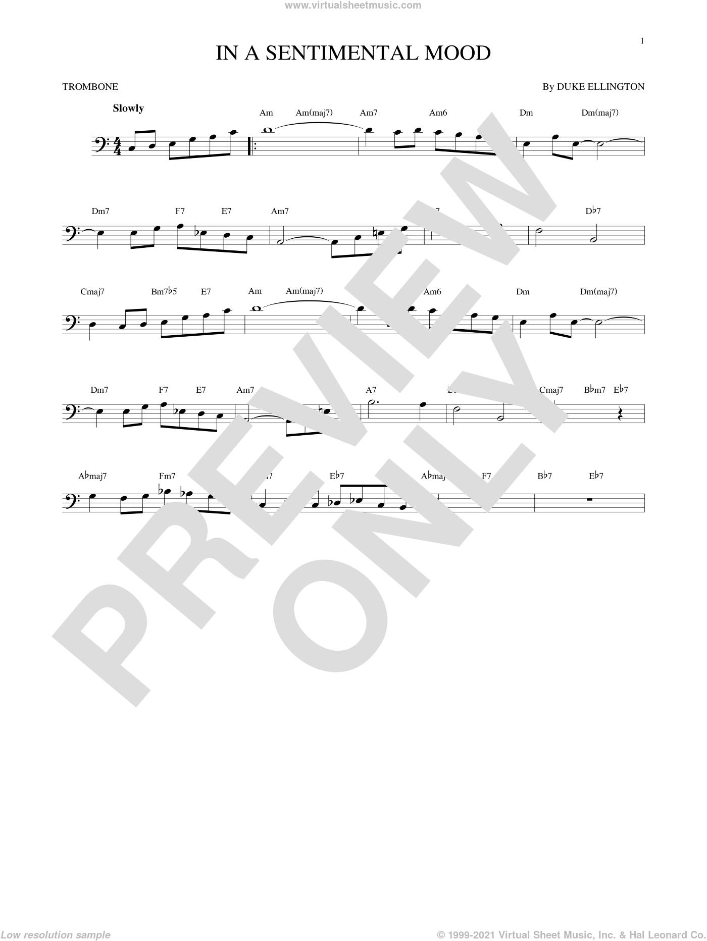 In A Sentimental Mood sheet music for trombone solo by Duke Ellington, Irving Mills and Manny Kurtz, intermediate skill level