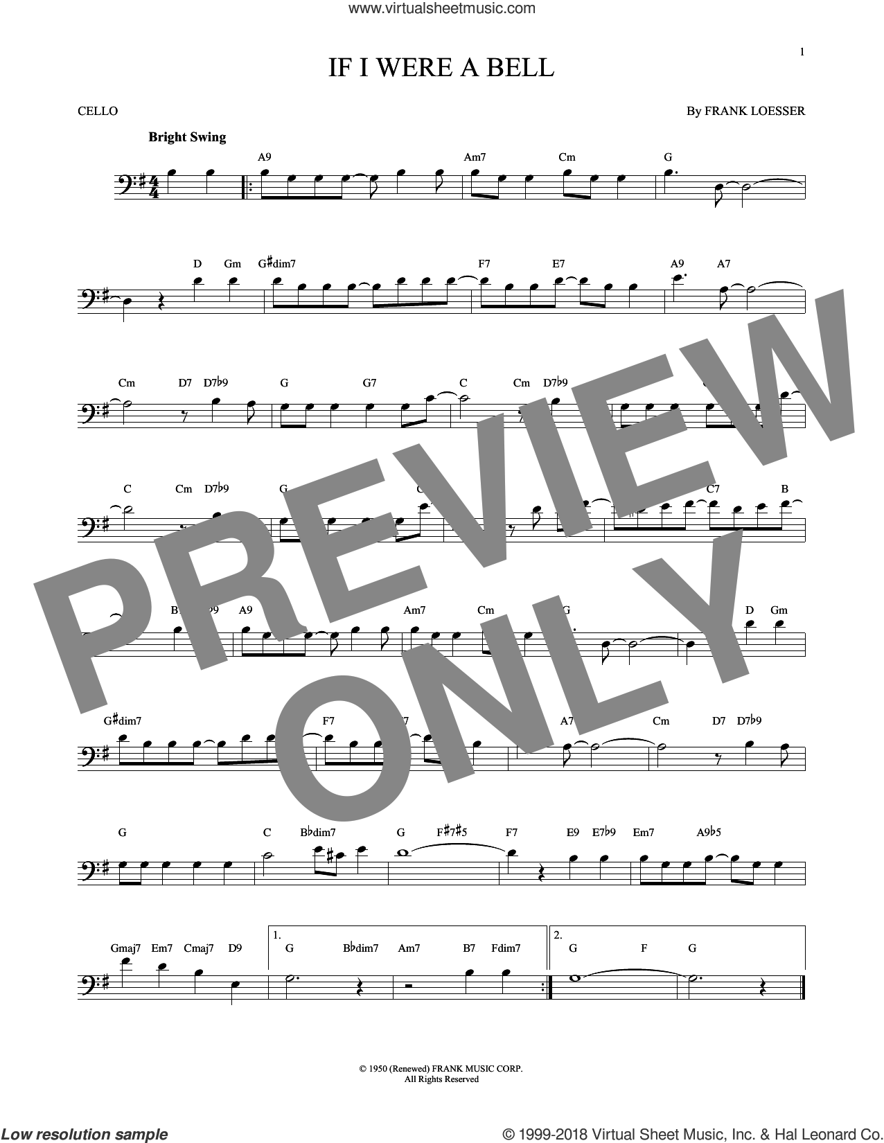 If I Were A Bell sheet music for cello solo by Frank Loesser, intermediate skill level