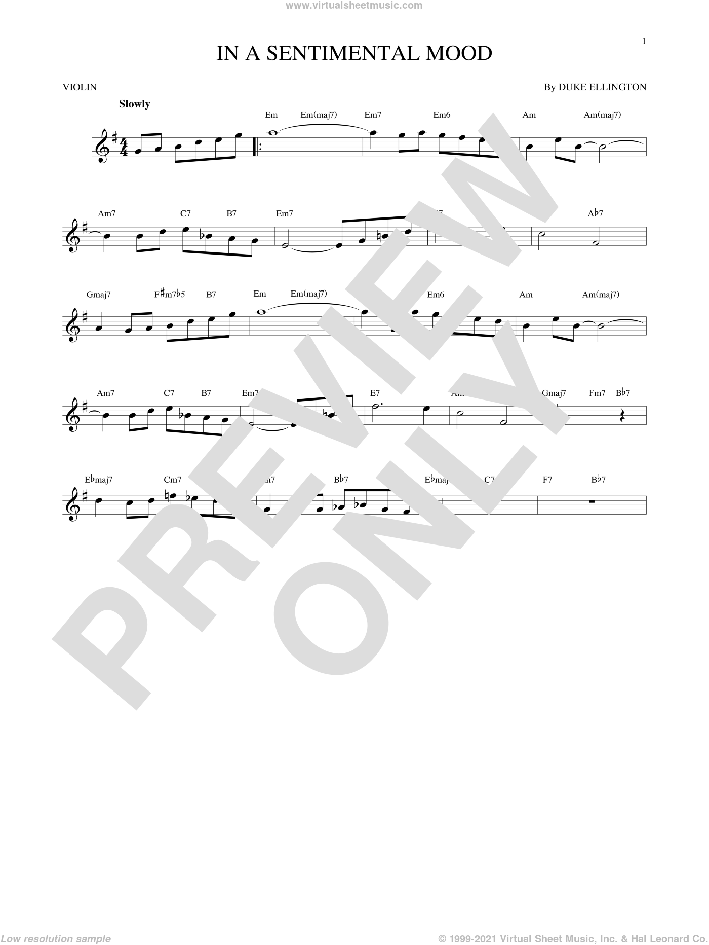 In A Sentimental Mood sheet music for violin solo by Duke Ellington, Irving Mills and Manny Kurtz, intermediate skill level