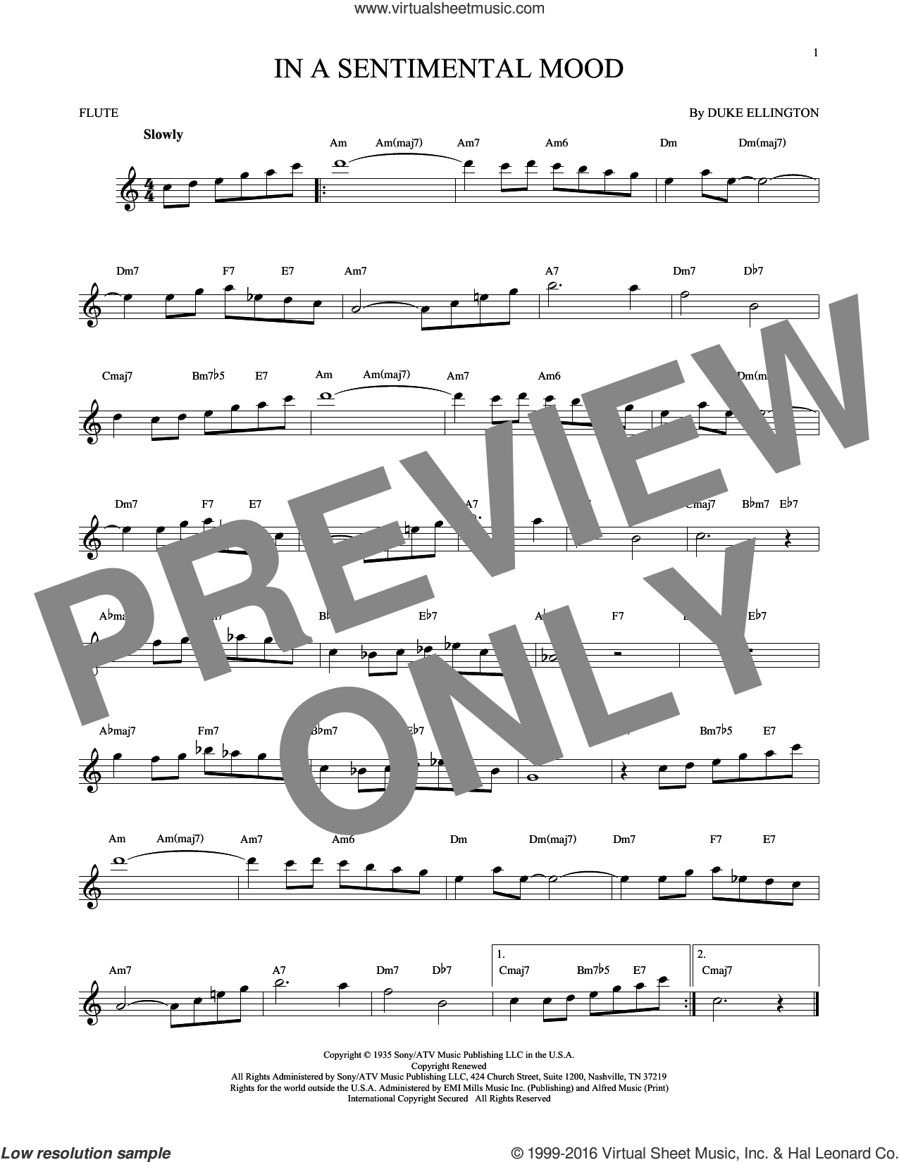 In A Sentimental Mood sheet music for flute solo by Duke Ellington, Irving Mills and Manny Kurtz, intermediate skill level