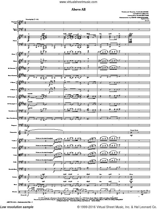 Above All (COMPLETE) sheet music for orchestra by Lenny LeBlanc, Mark Brymer, Michael W. Smith and Paul Baloche. Score Image Preview.